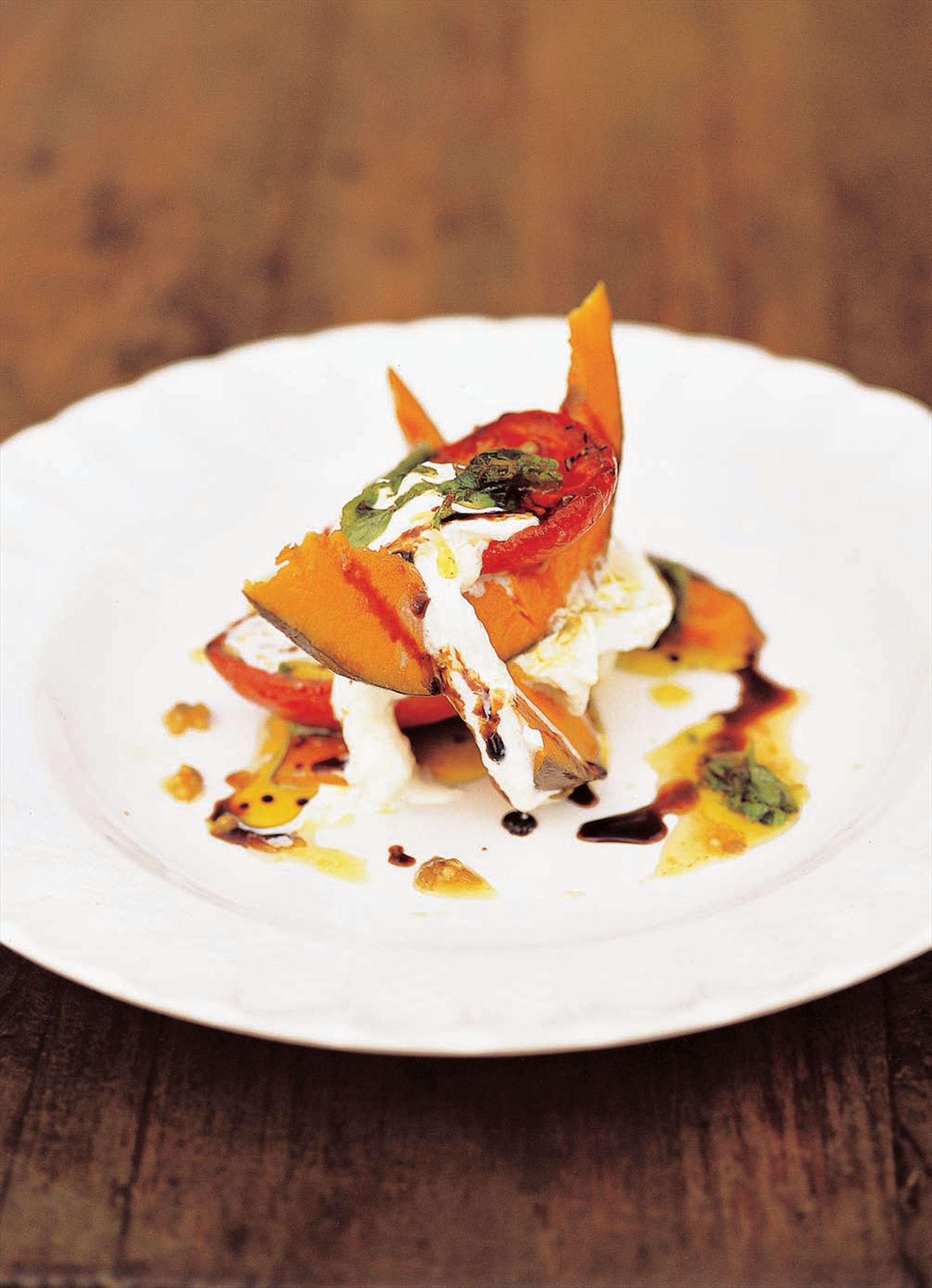 Pickled pumpkin with burrata