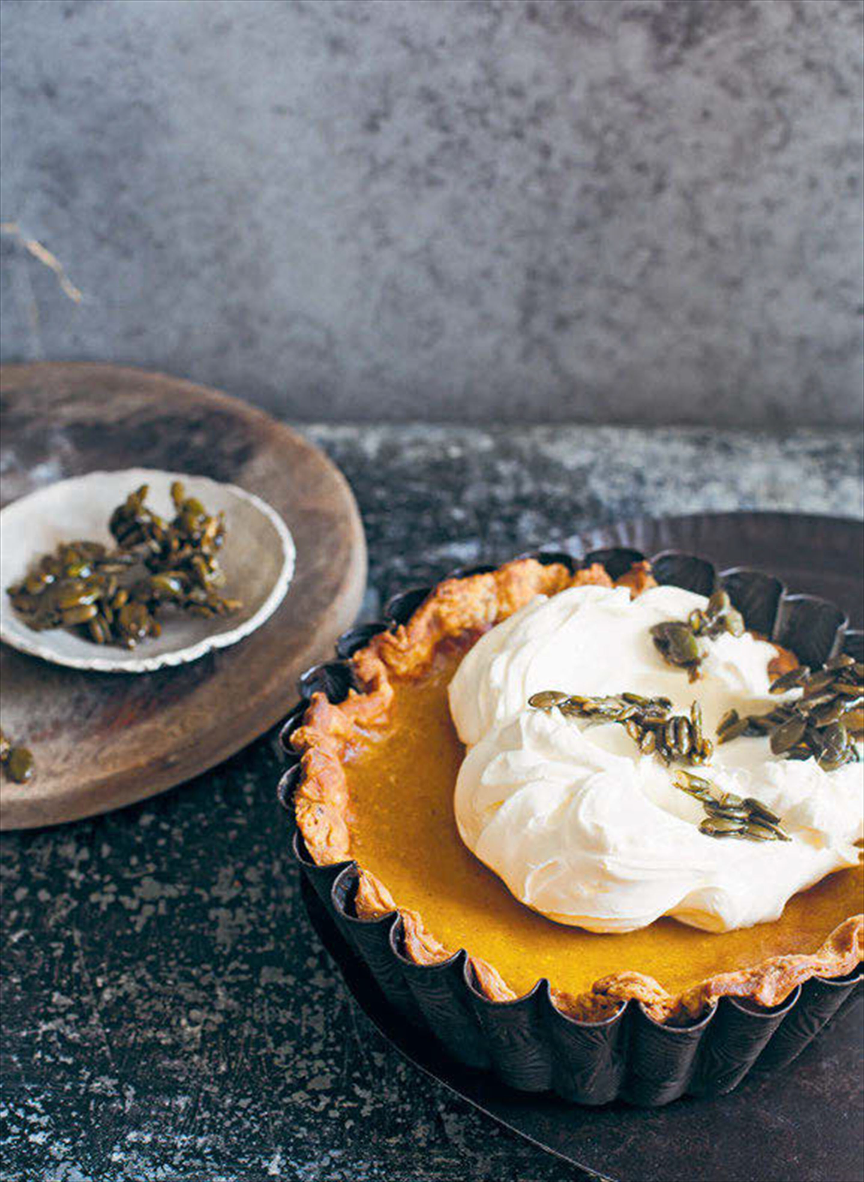 Pumpkin pie with candied pepitas