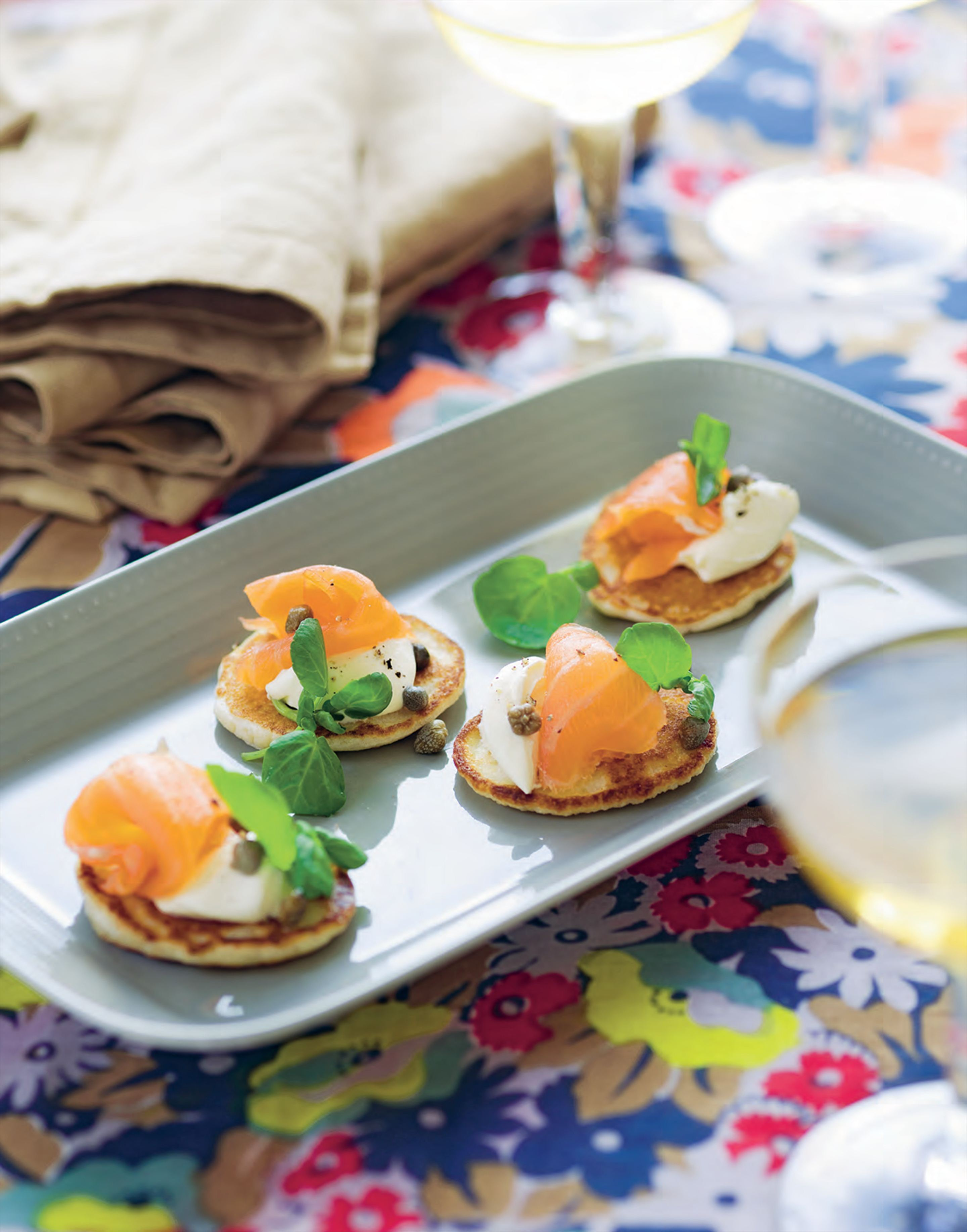 Blinis with smoked salmon or gravlax