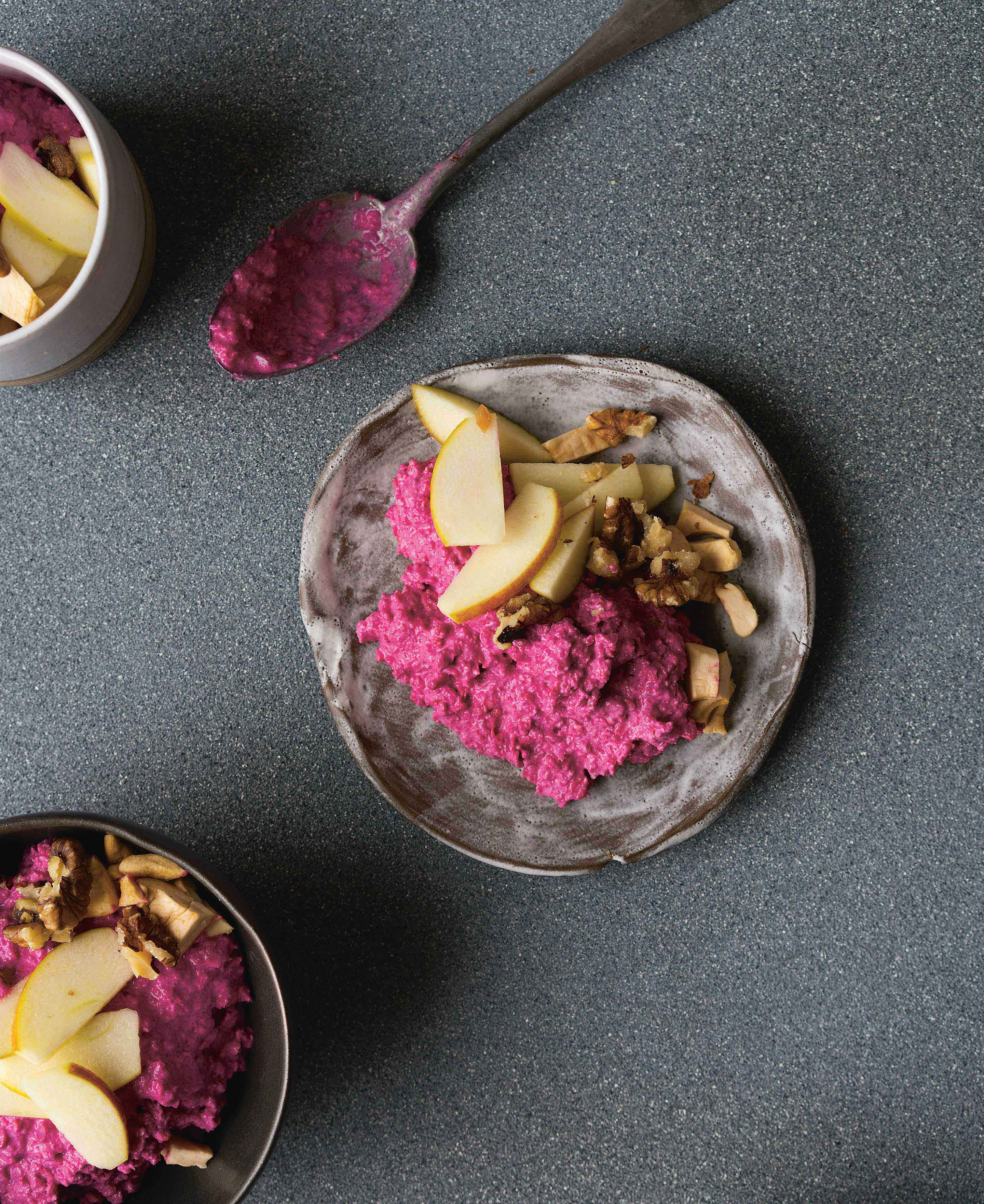 Beetroot bircher with apple + walnuts