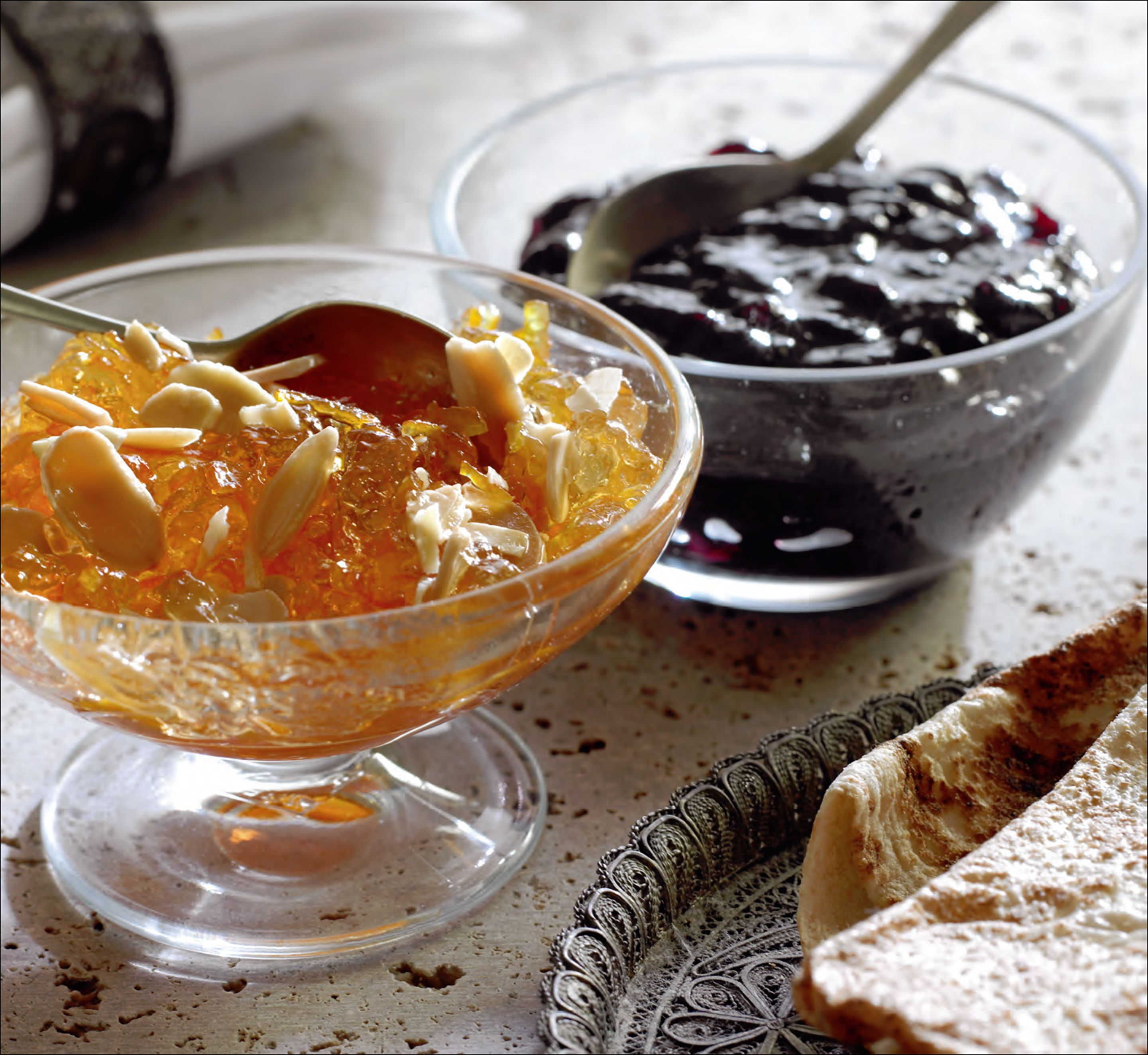 Bitter orange marmalade with rosewater and almonds