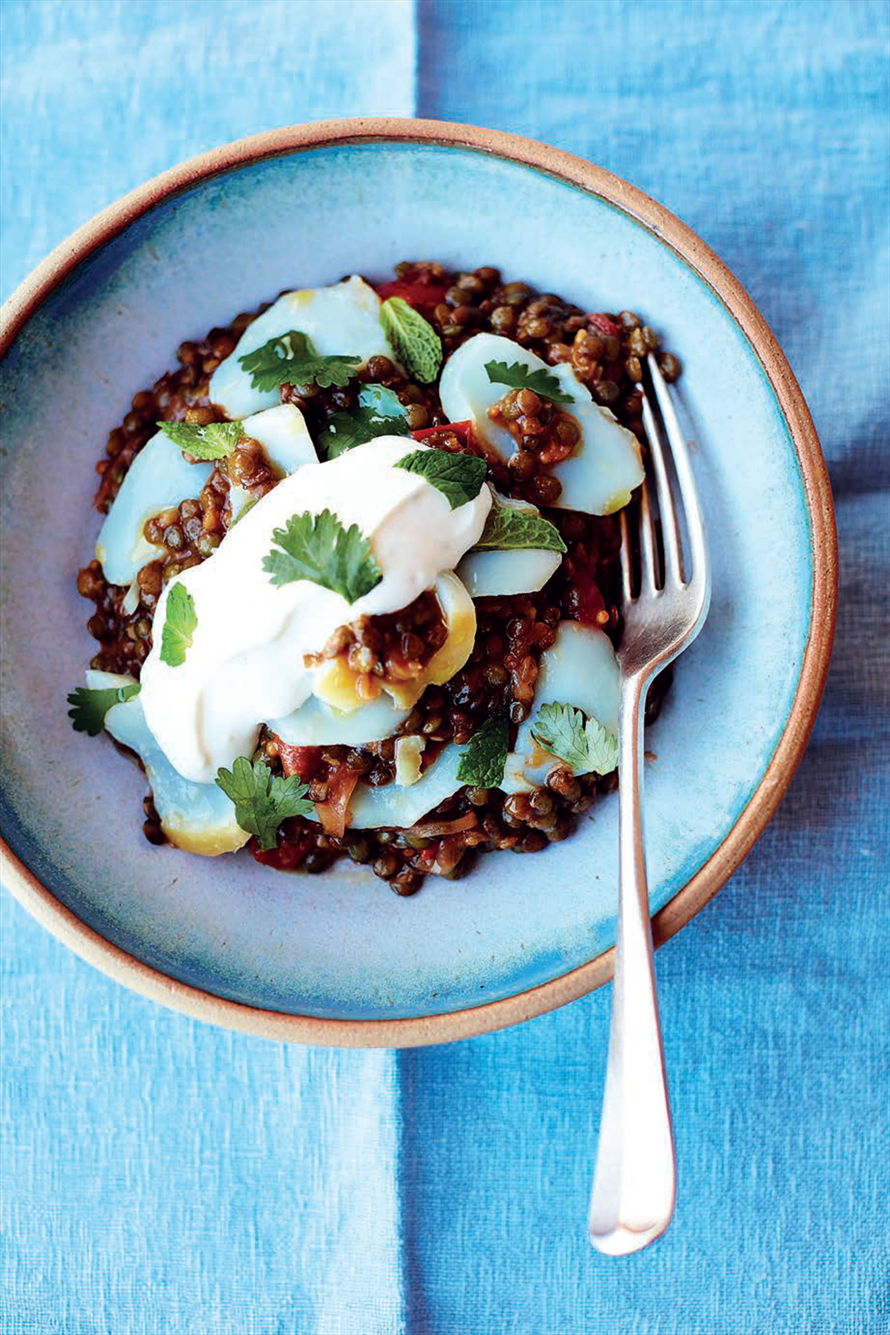 Smoked haddock and curried lentils, lime yoghurt