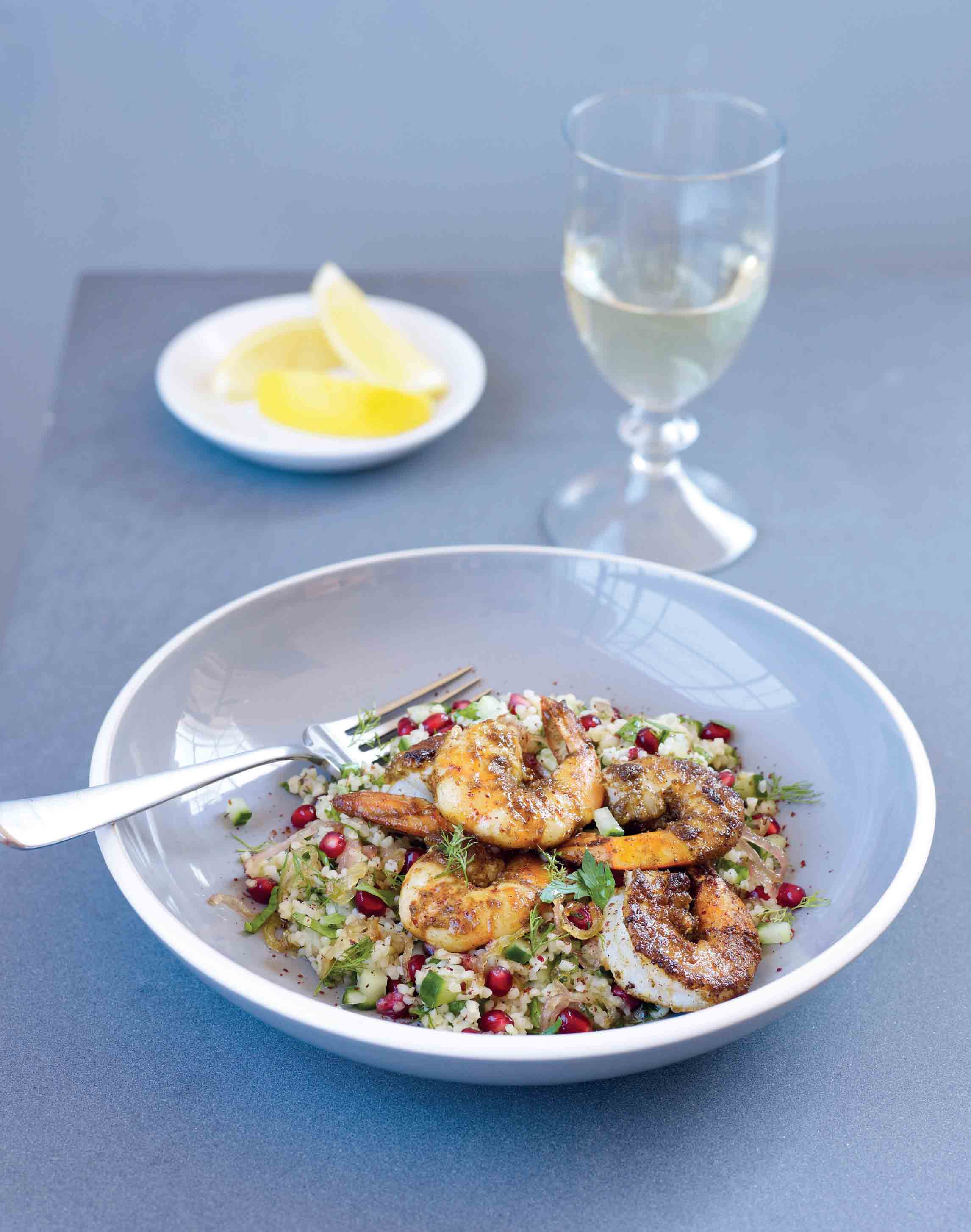 Za'atar crusted prawns with a bulghar wheat and herb salad