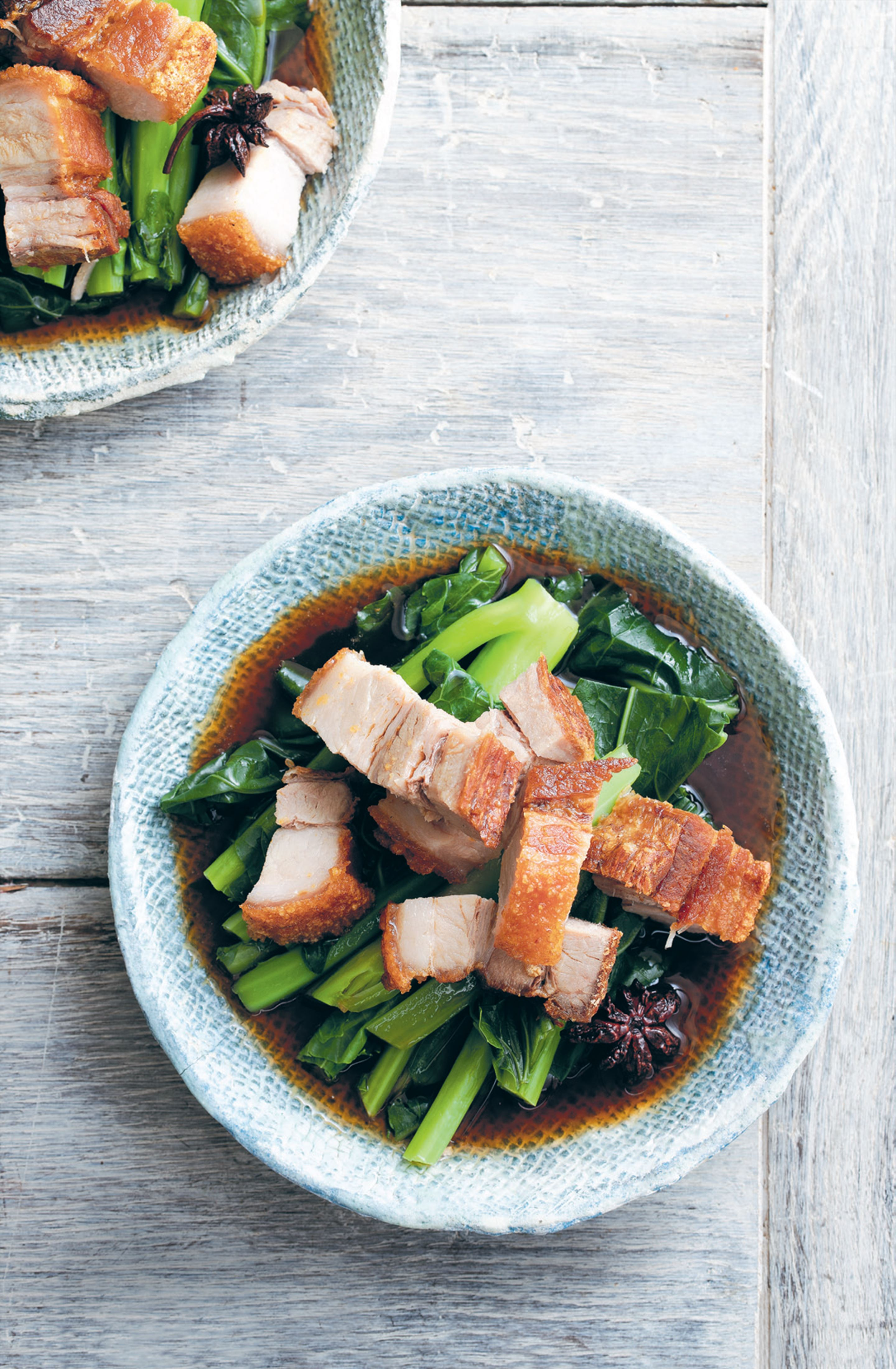 Twice-cooked pork belly with soy, star anise and Chinese broccoli