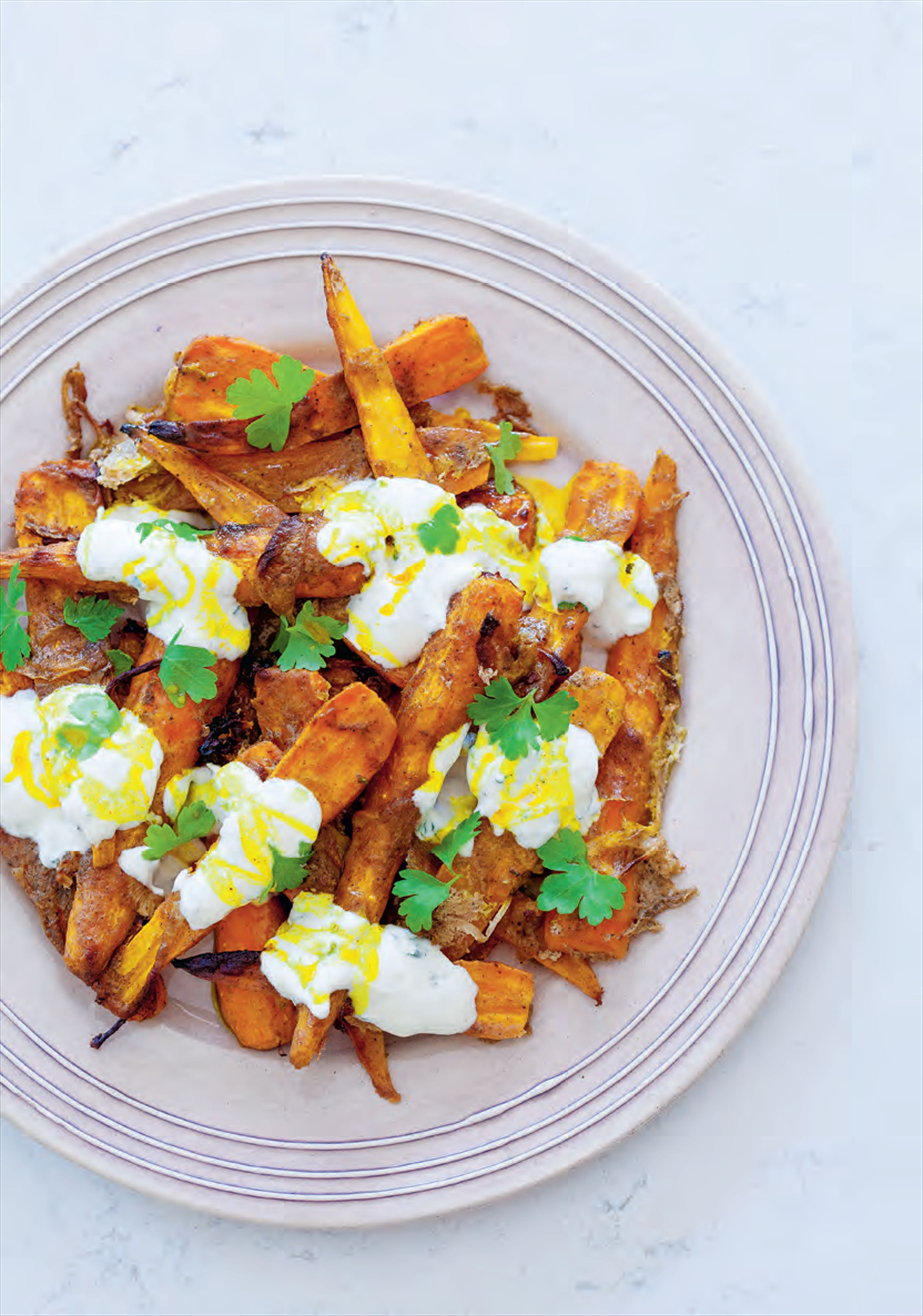Yoghurt and garam slow-roasted carrots
