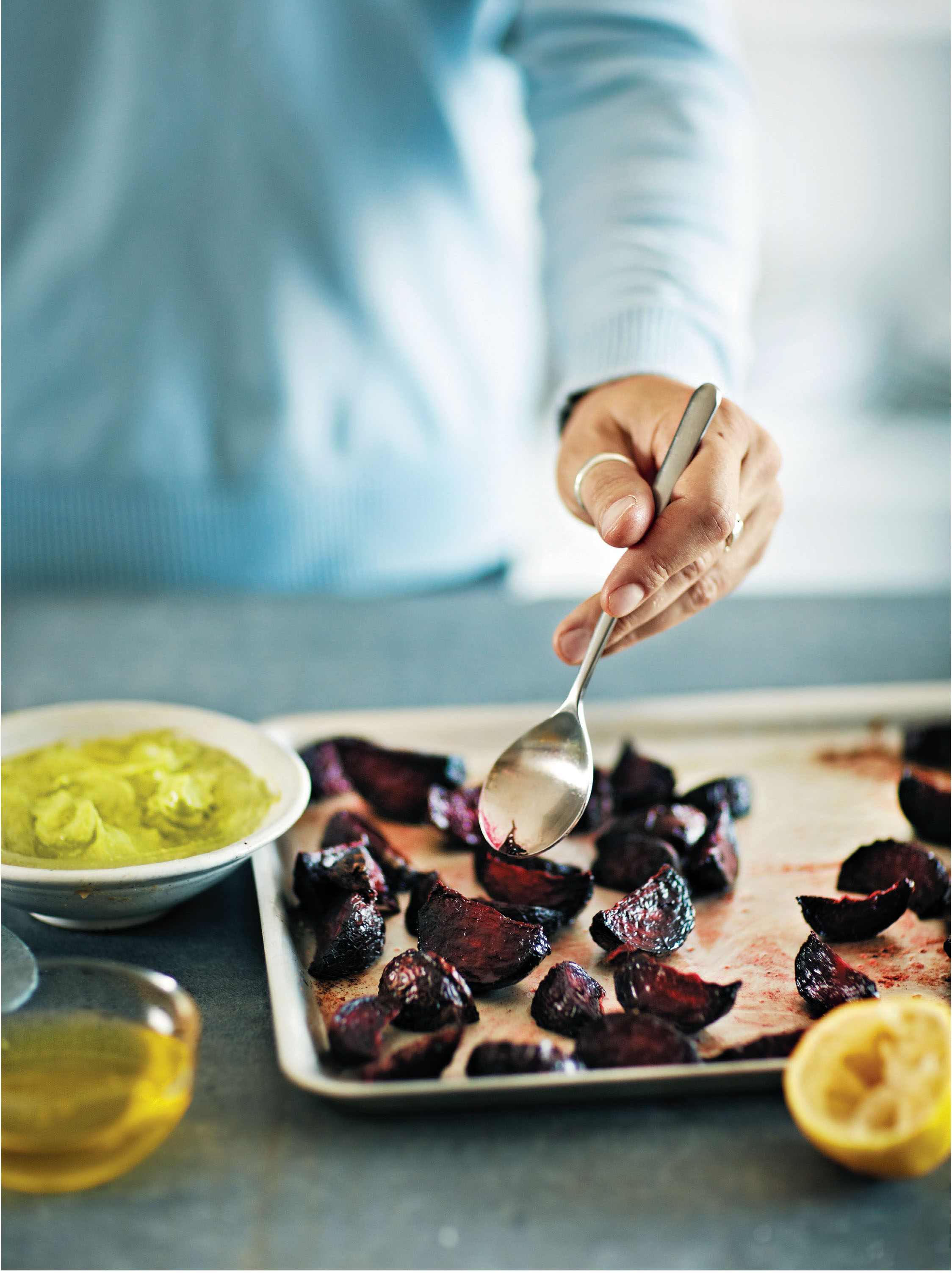 Roast beetroot wedges with avocado and horseradish
