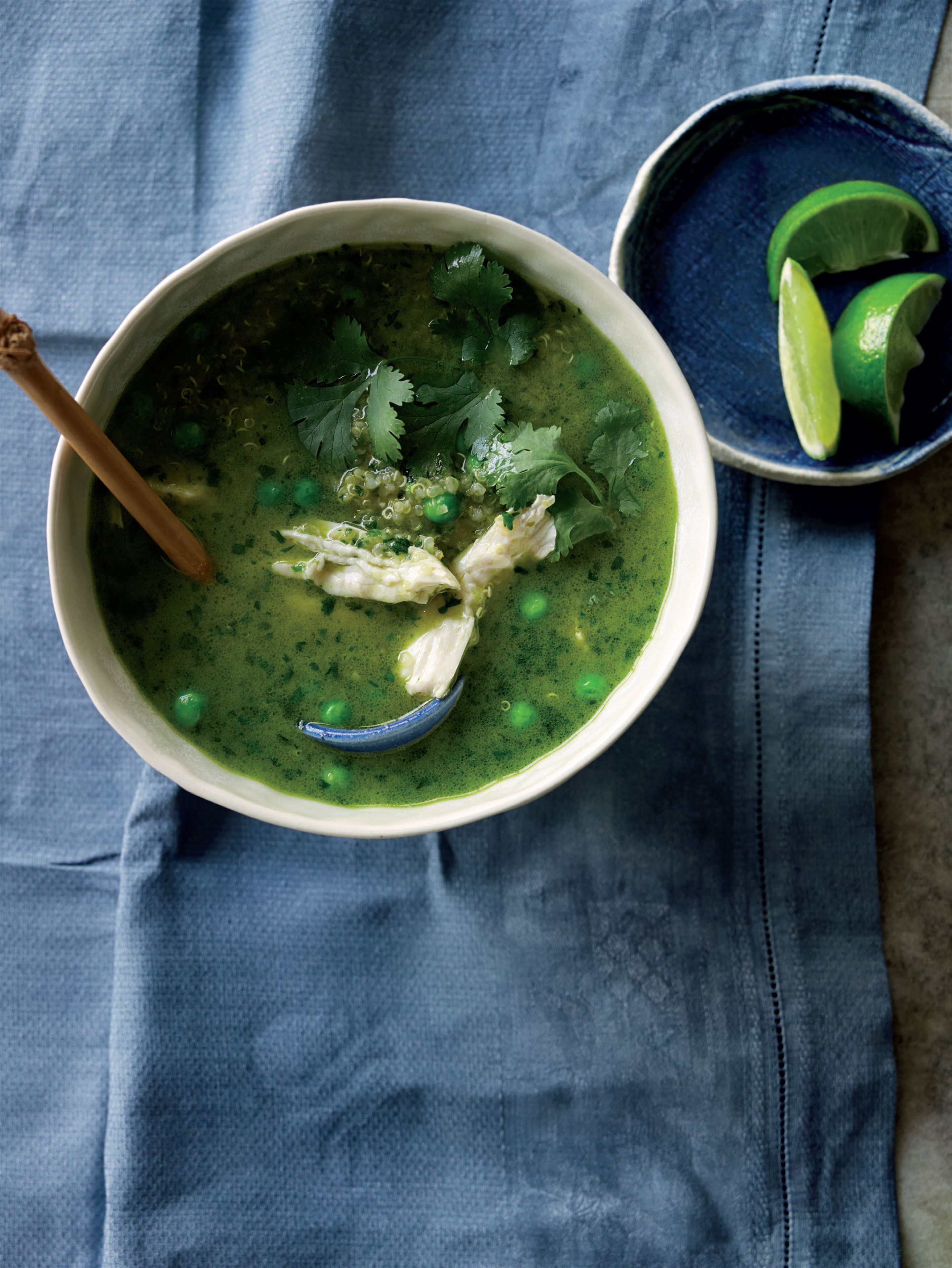 Quinoa aguadito, or peruvian chicken and coriander soup