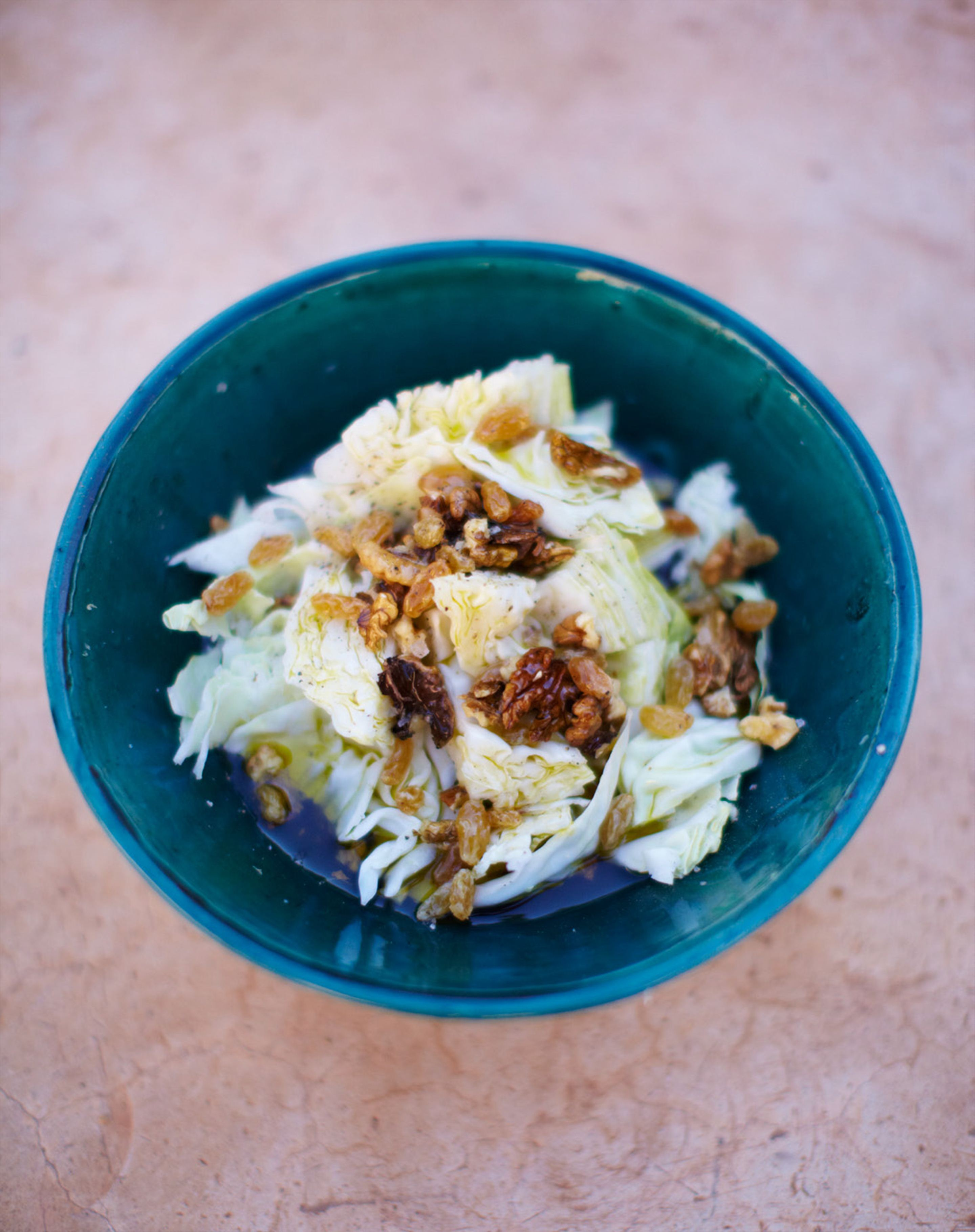 Cabbage, walnut & sultana salad