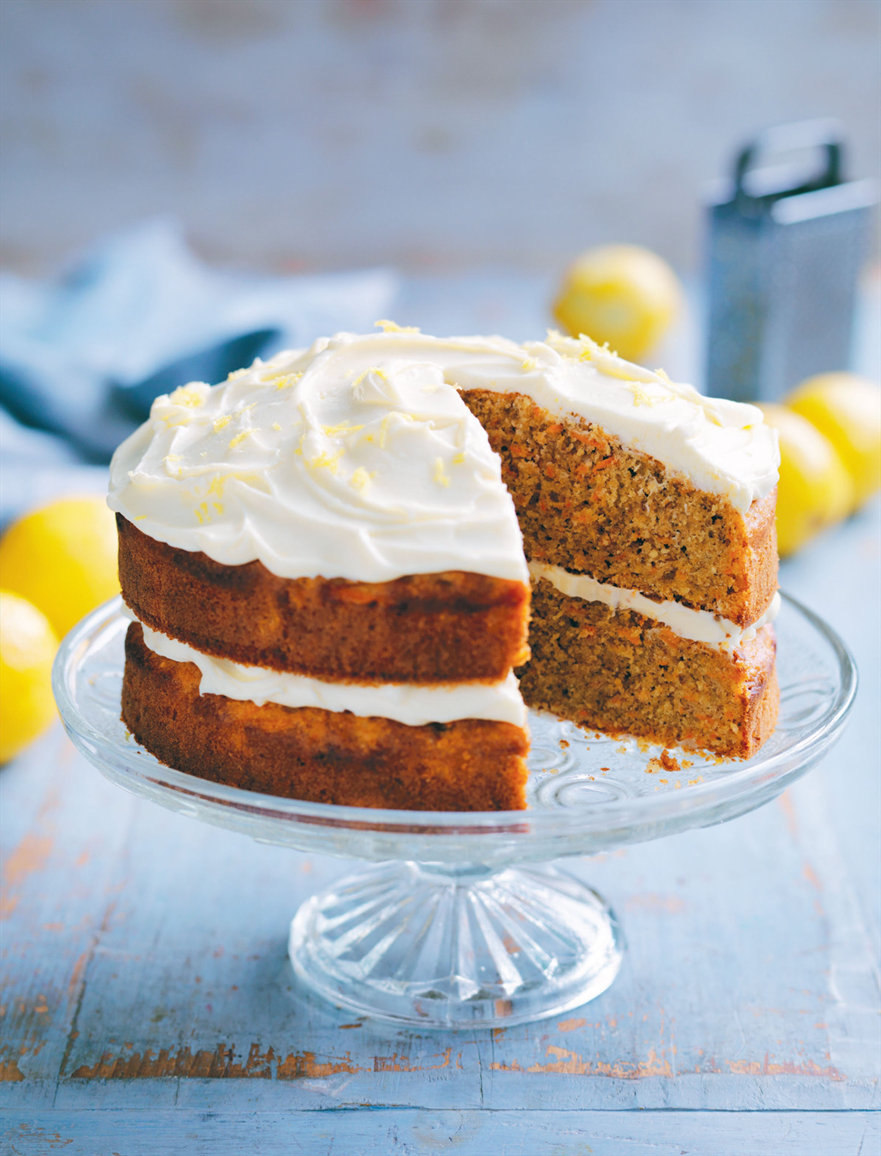 Carrot almond cake with lemon cream cheese icing