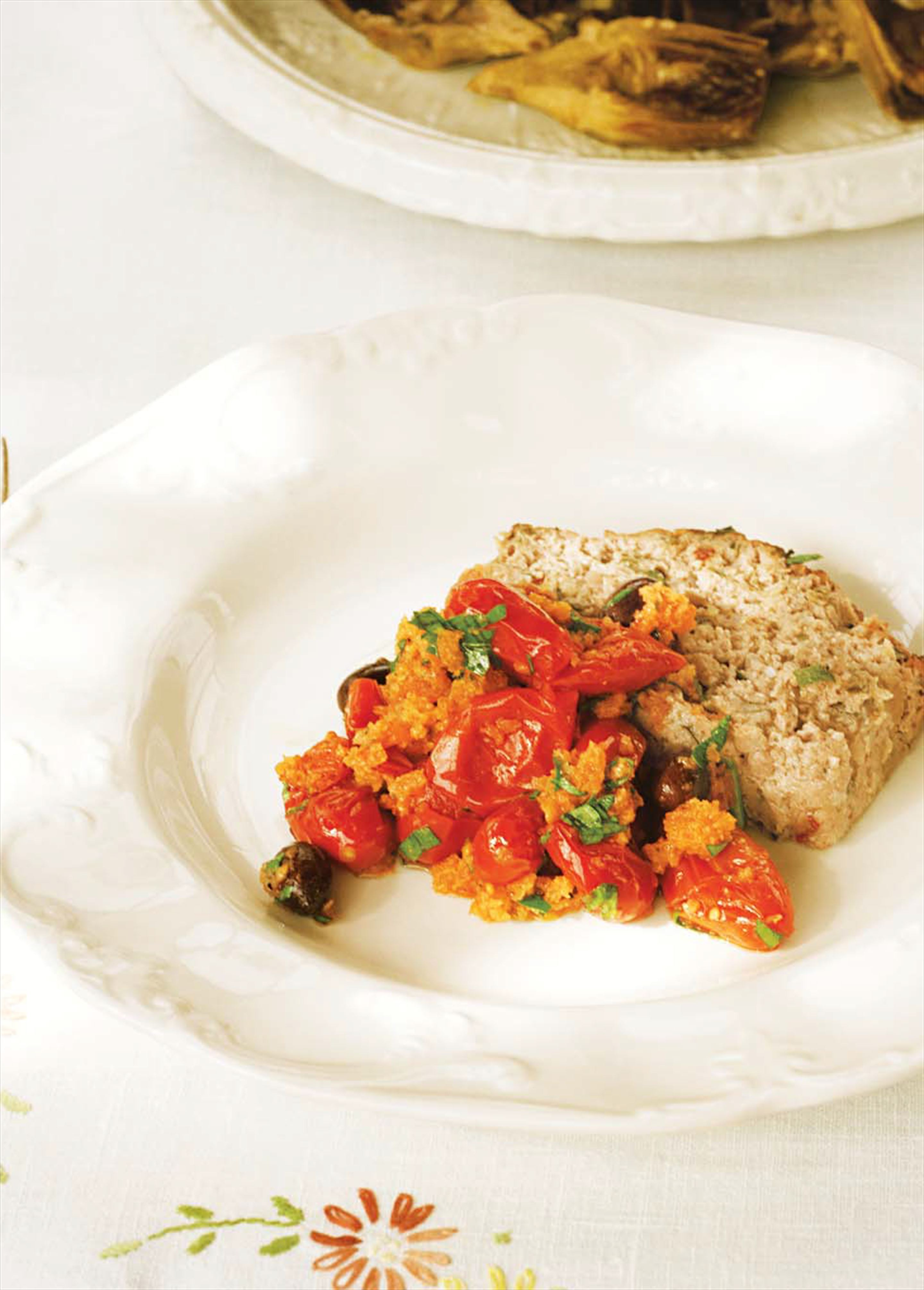 Veal and pork meatloaf with tomato and herb sauce