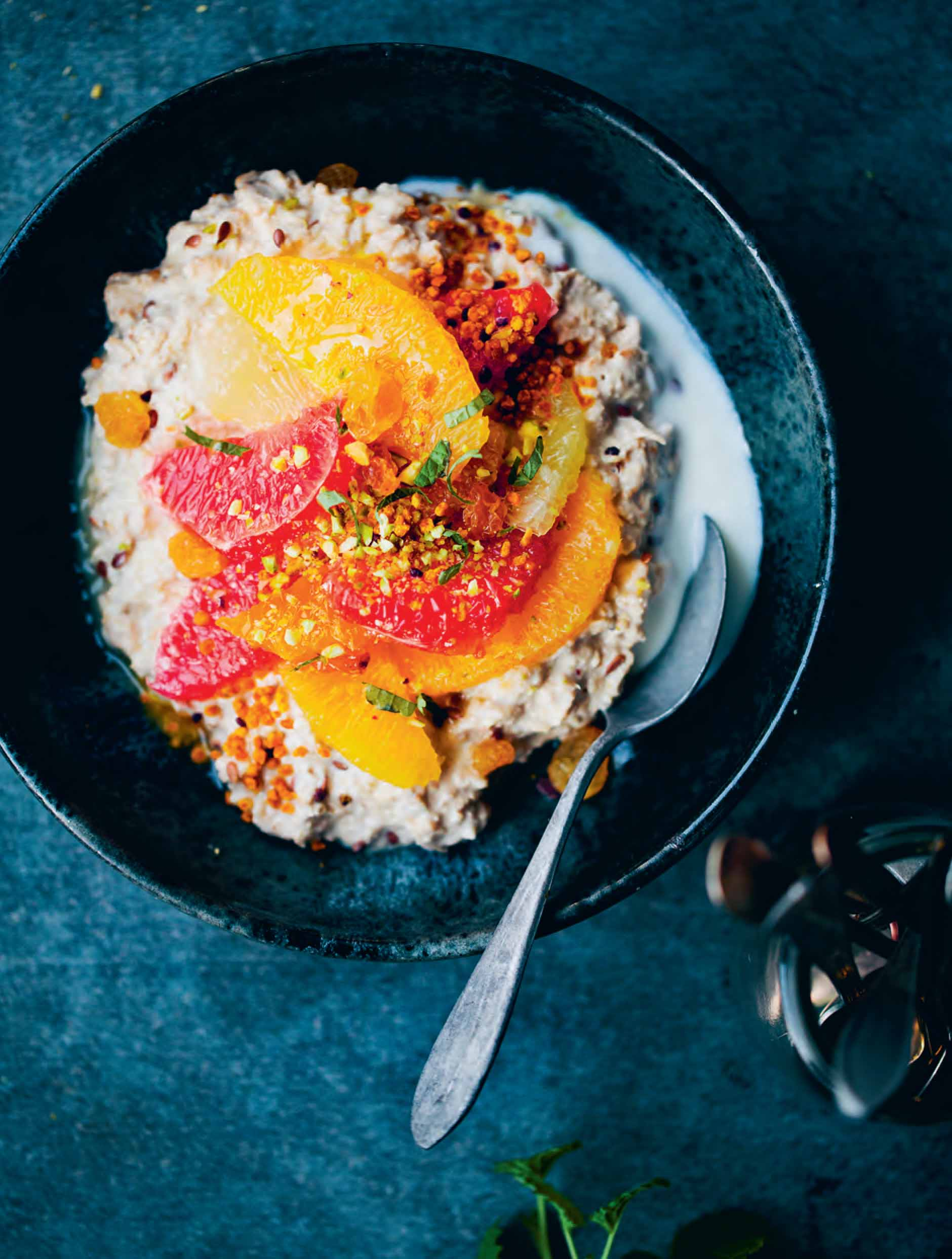 Kefir bircher with middle-eastern citrus salad