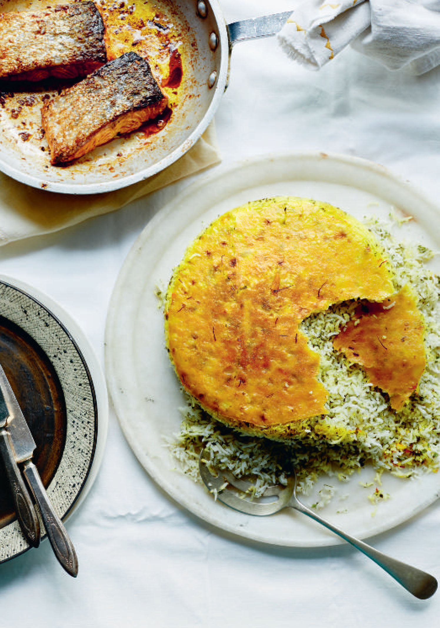 Mixed herb rice with baked salmon