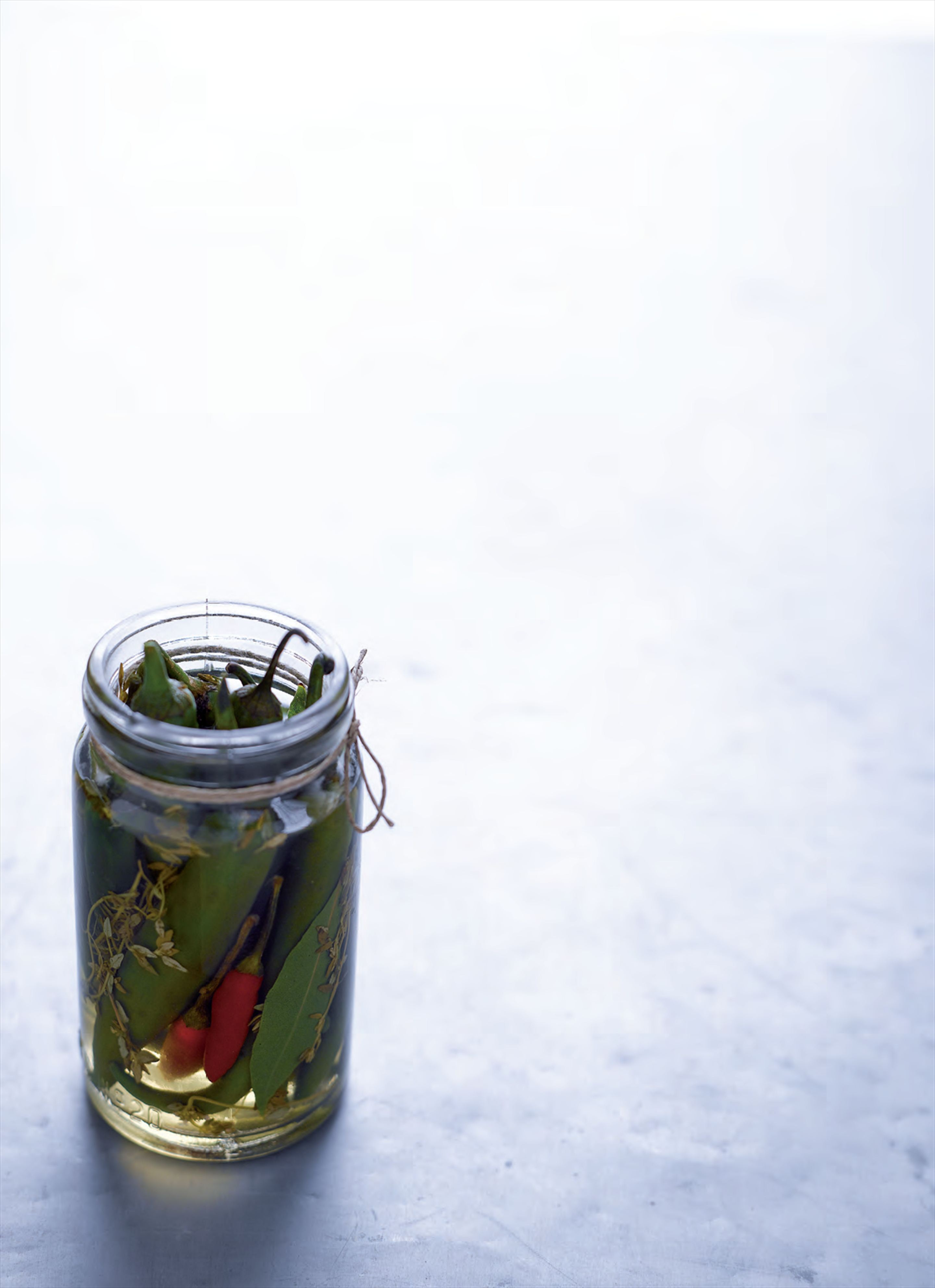 Pickled green chillies