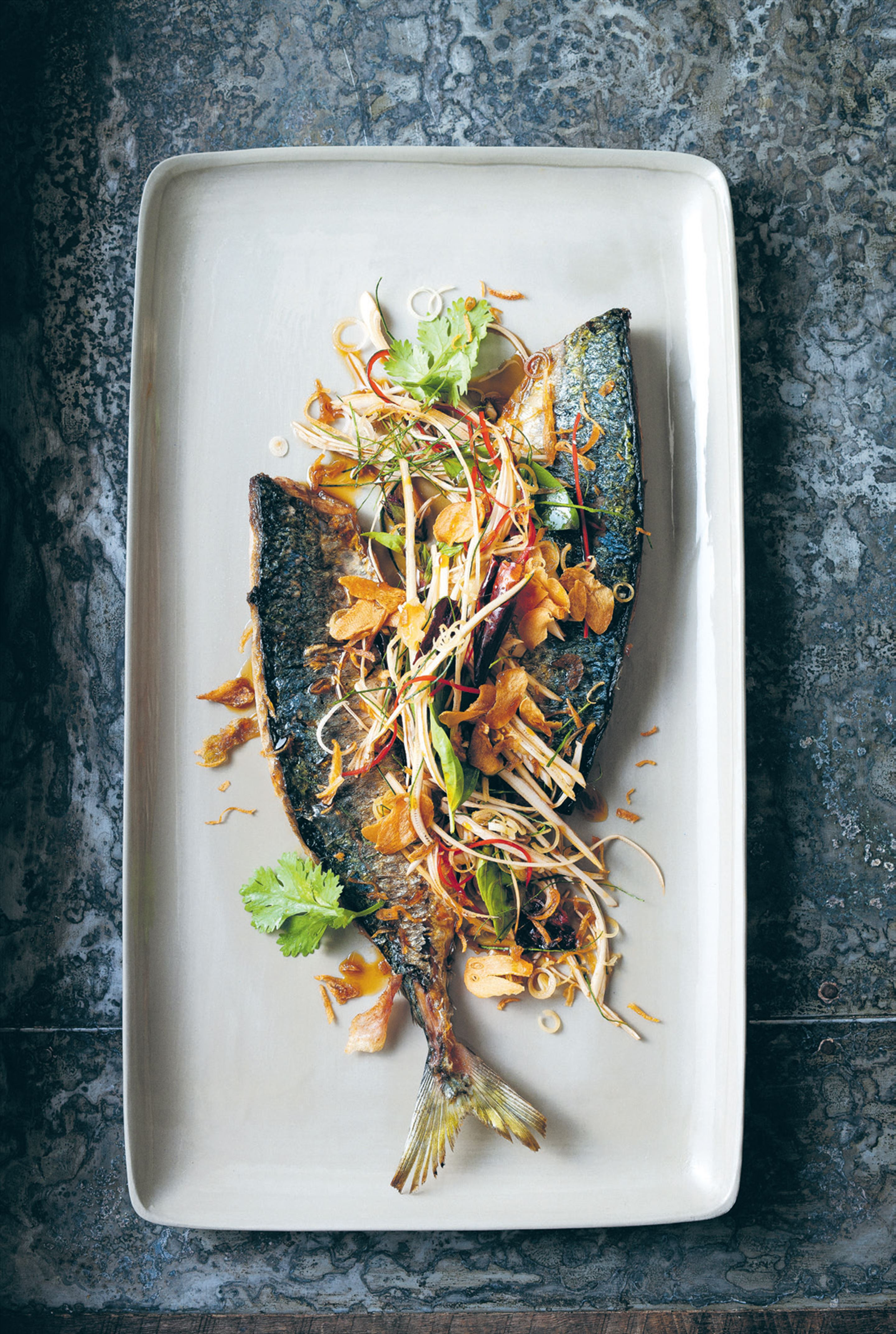 Seared mackerel with banana flower and sweet fish sauce
