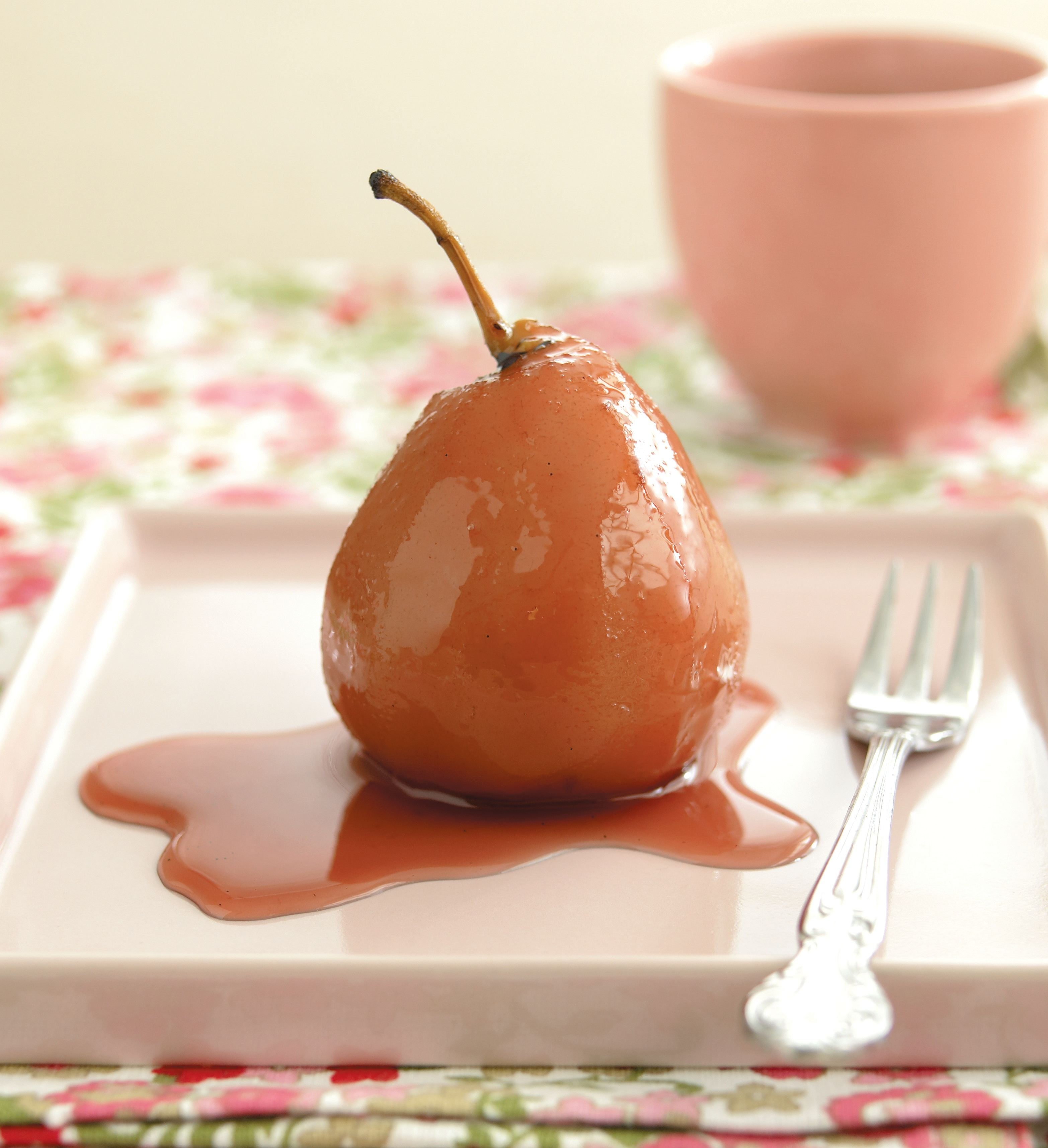 Pears poached in red wine