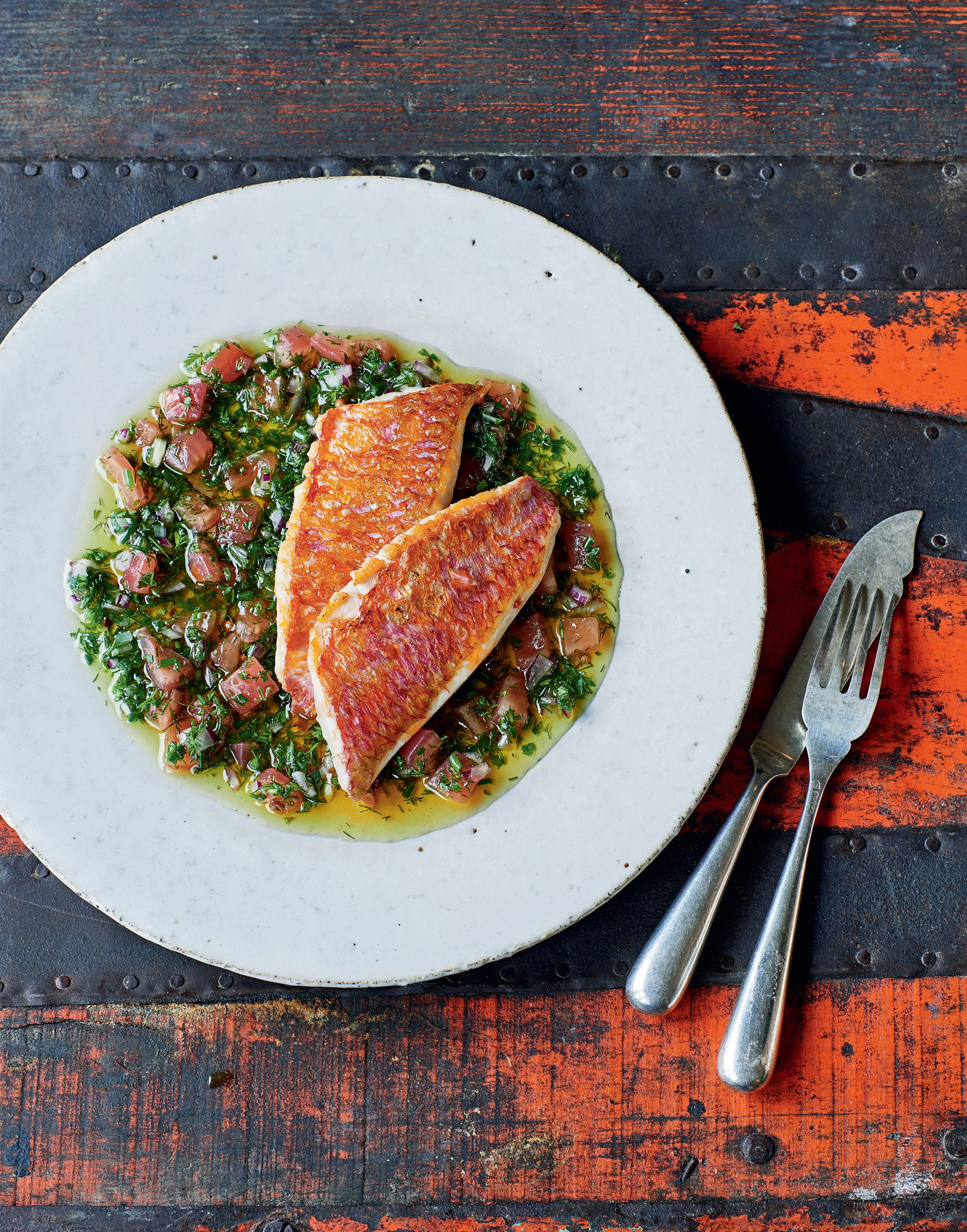 Red mullet with sauce vierge