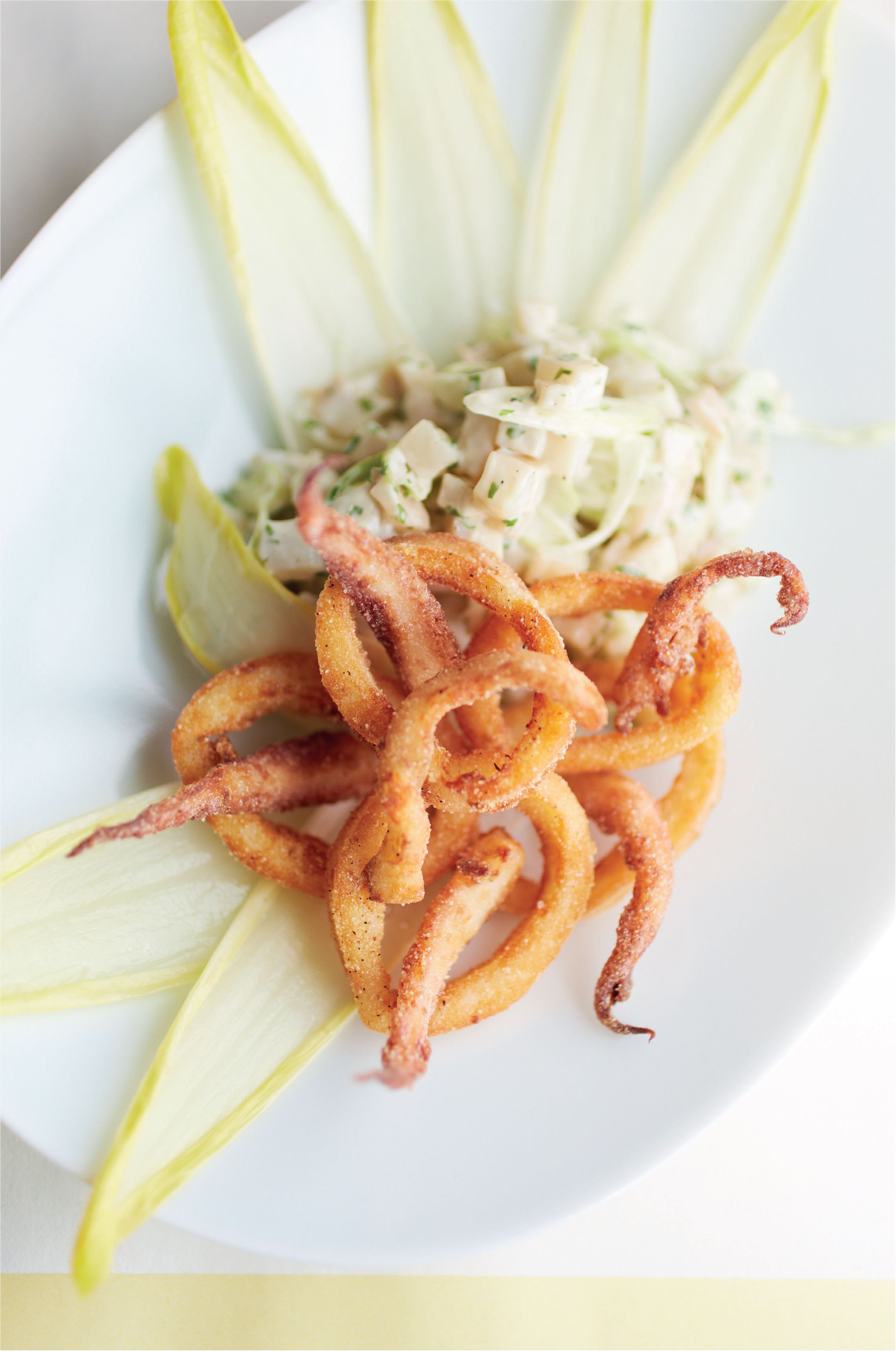 Braised squid 'Redas style' with pickled chicory salad