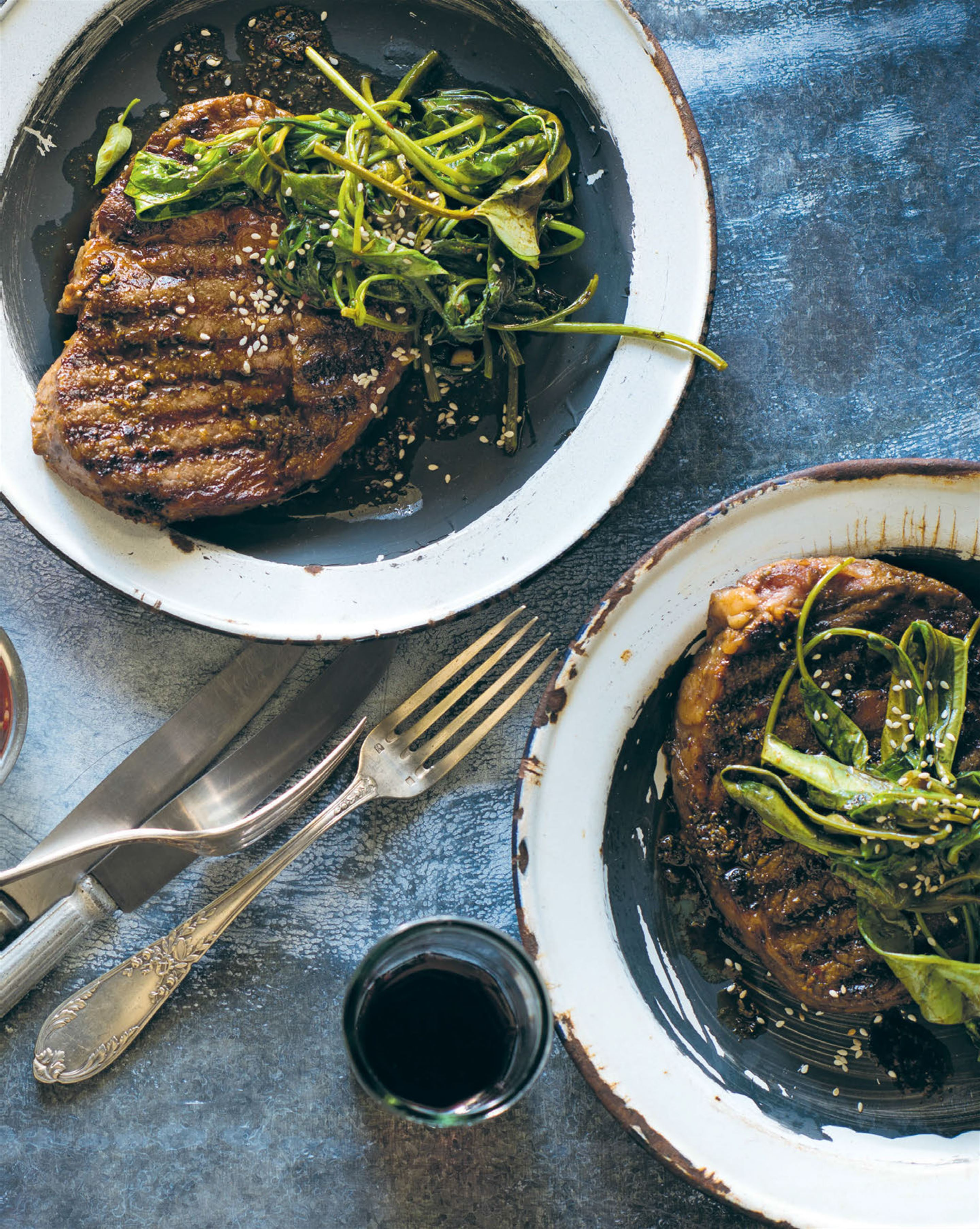 Grilled rib-eye with soy, chilli & coriander