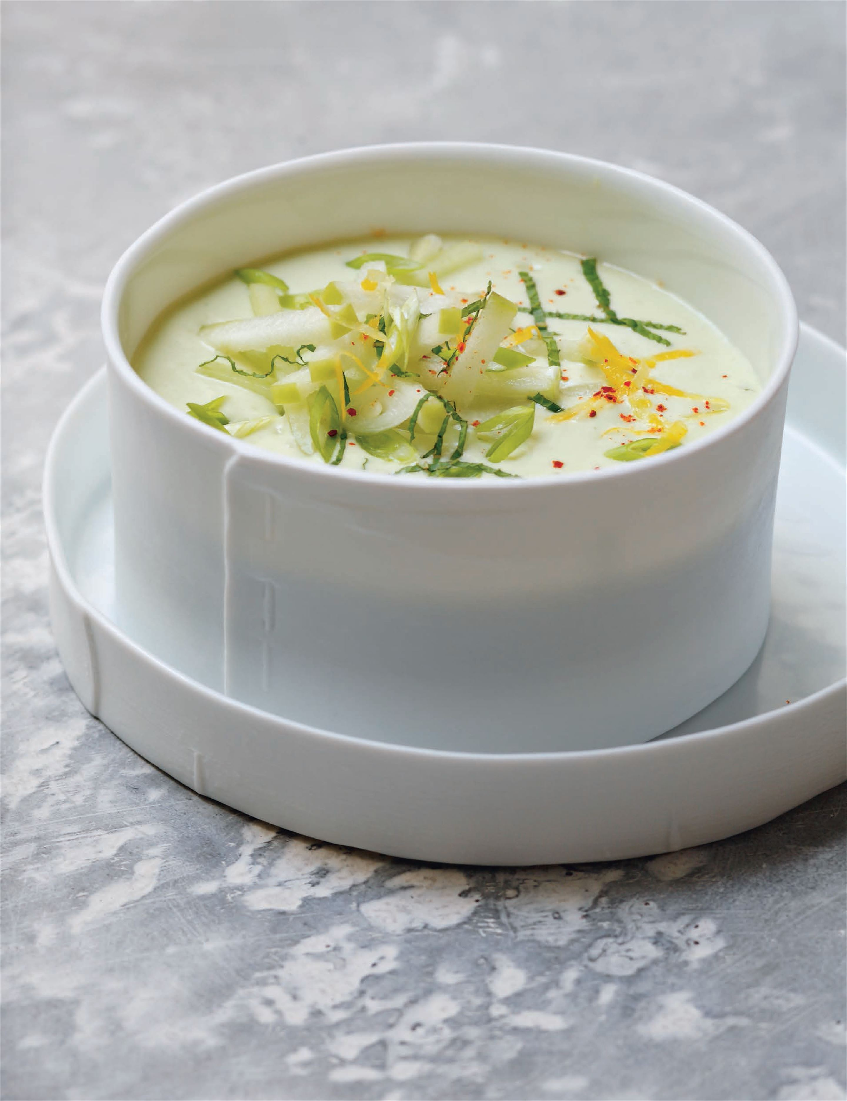 Cucumber and yogurt gazpacho with fresh mint and a crisp garnish