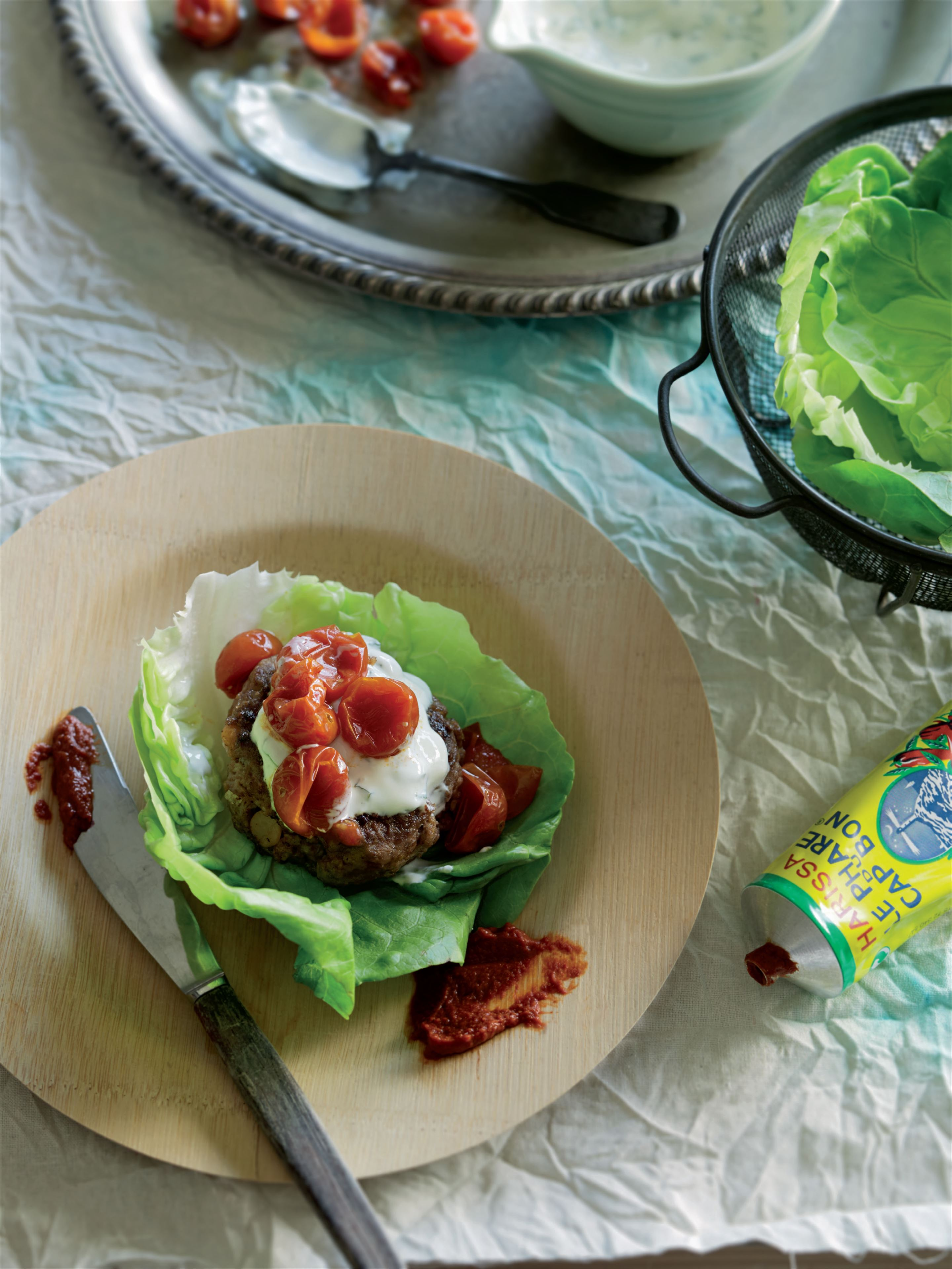 Moroccan lamb and chickpea burgers in lettuce leaves