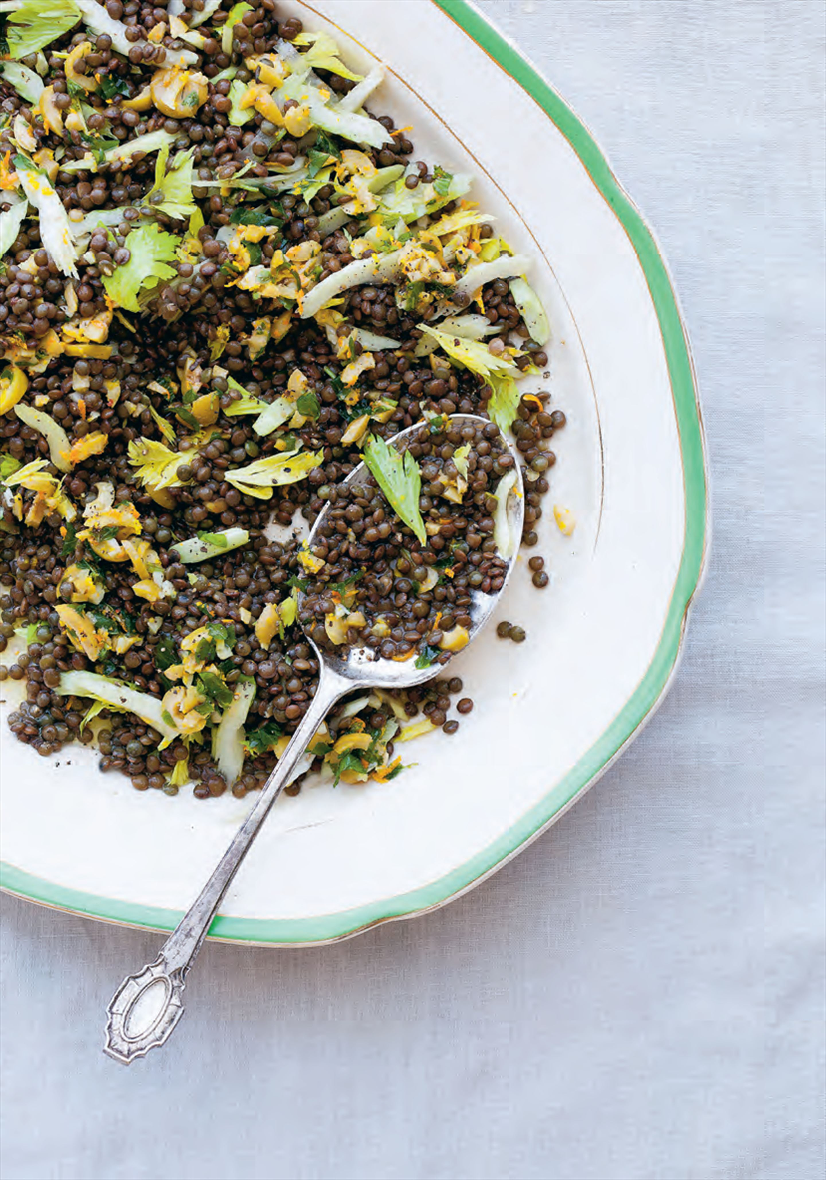 Lentils with green olives, celery leaf, mint and orange