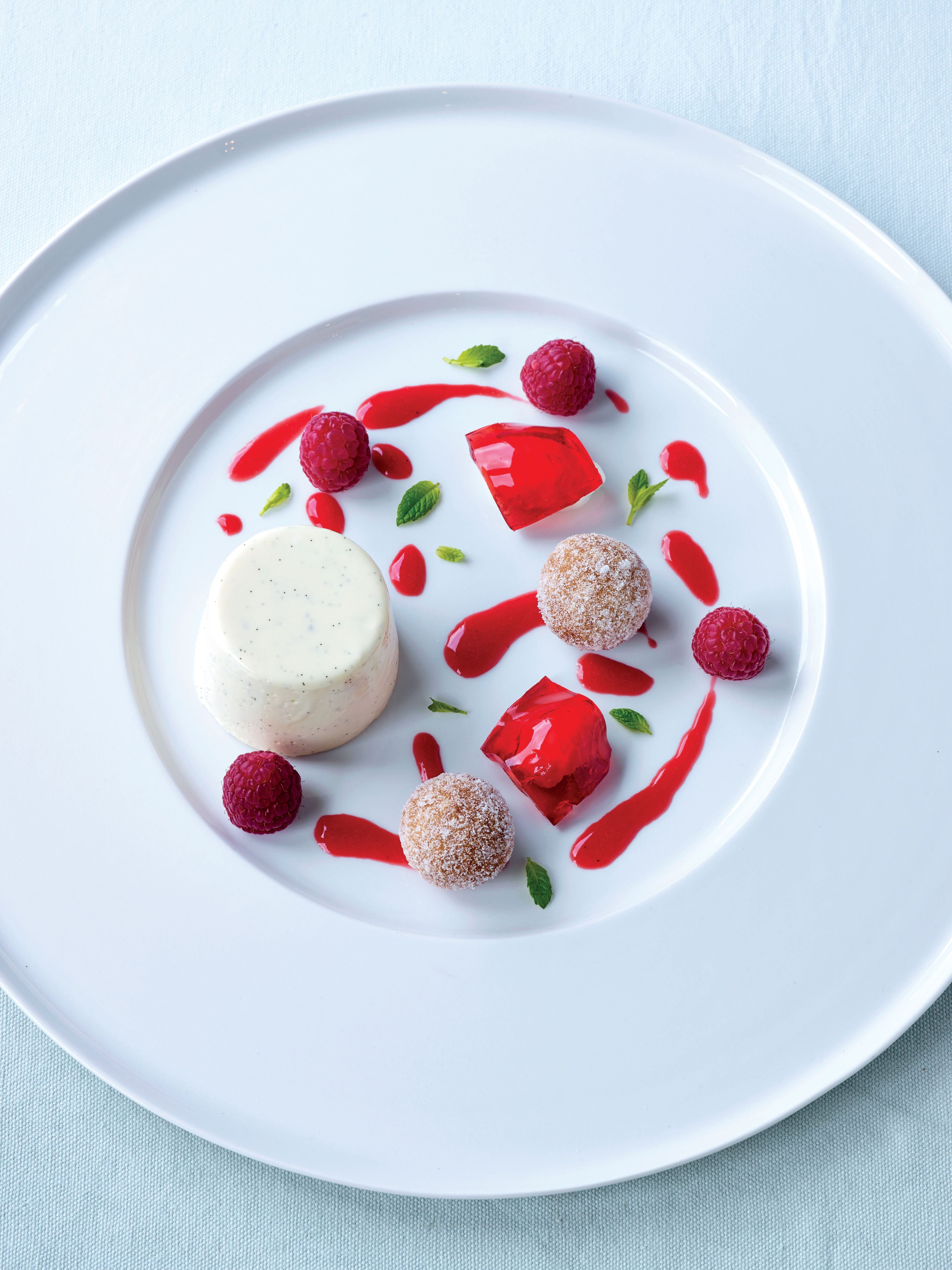 Buttermilk panna cotta with doughnuts and raspberry jelly
