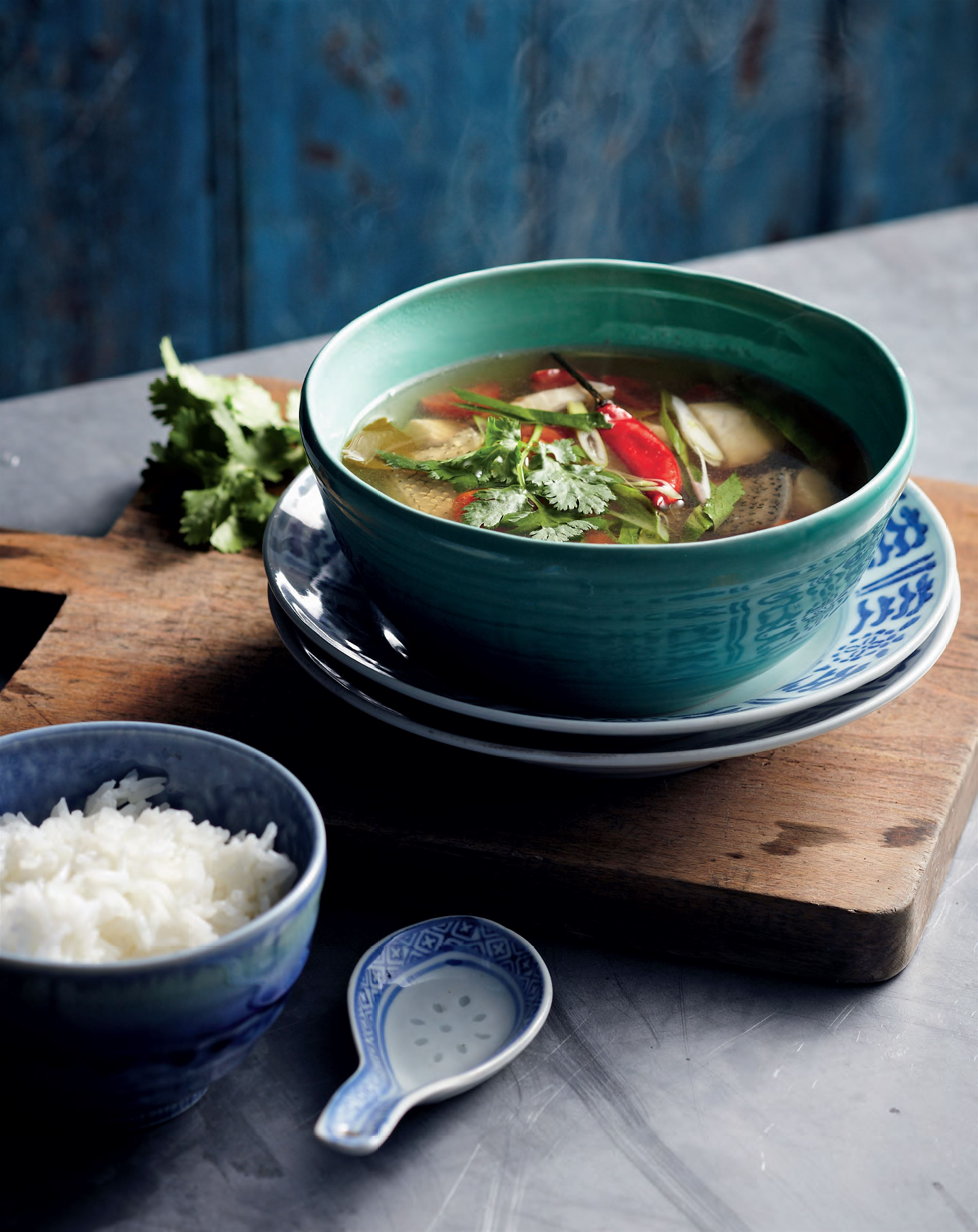 Tom yum pla soup with catfish