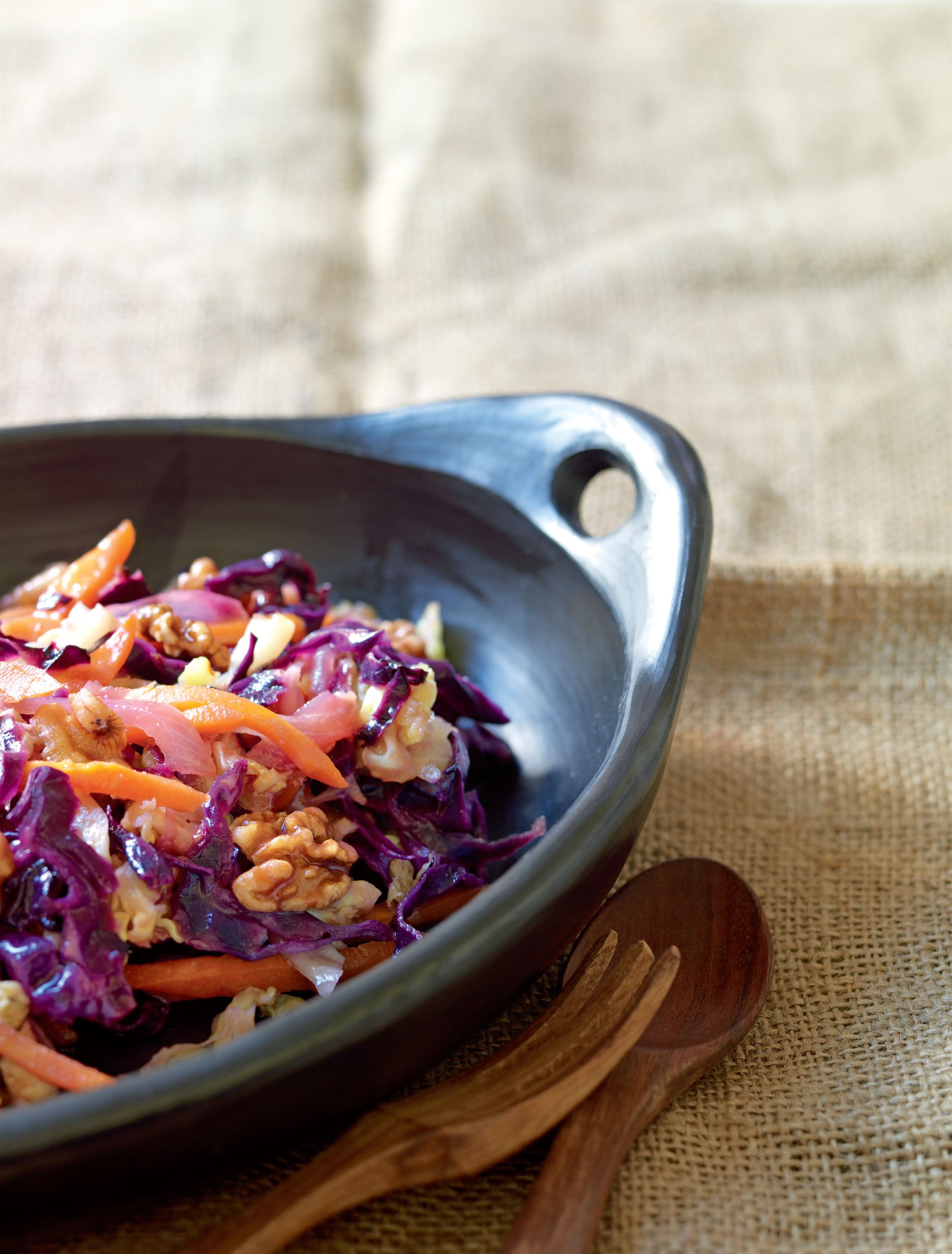 Braised cabbage and carrots with roasted walnuts