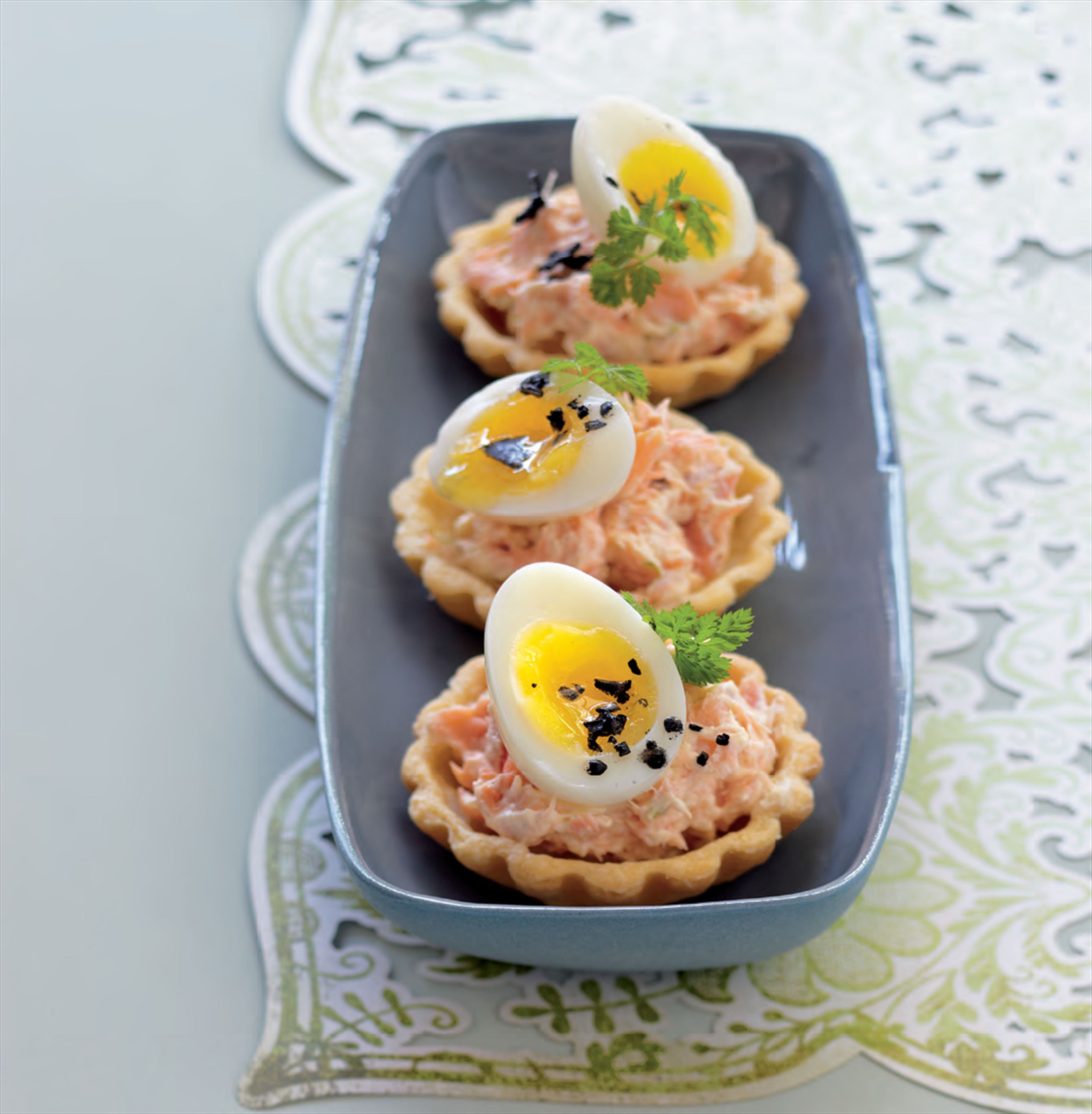 Smoked trout, lime and quail egg tartlets