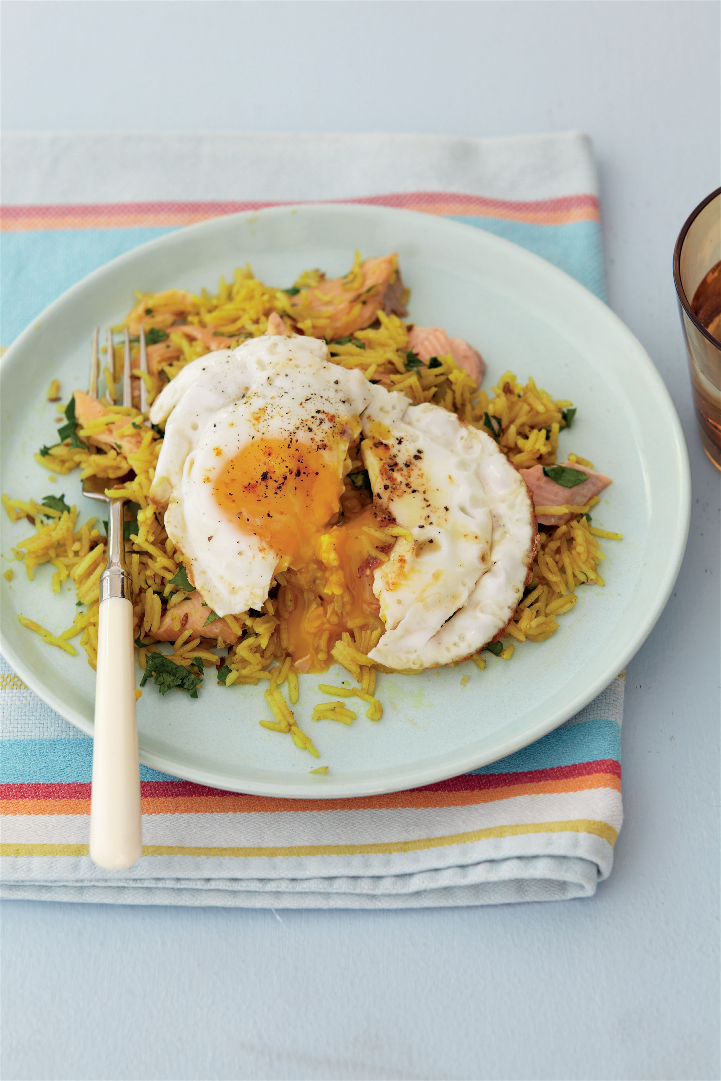 Smoked trout with kedgeree pilaf