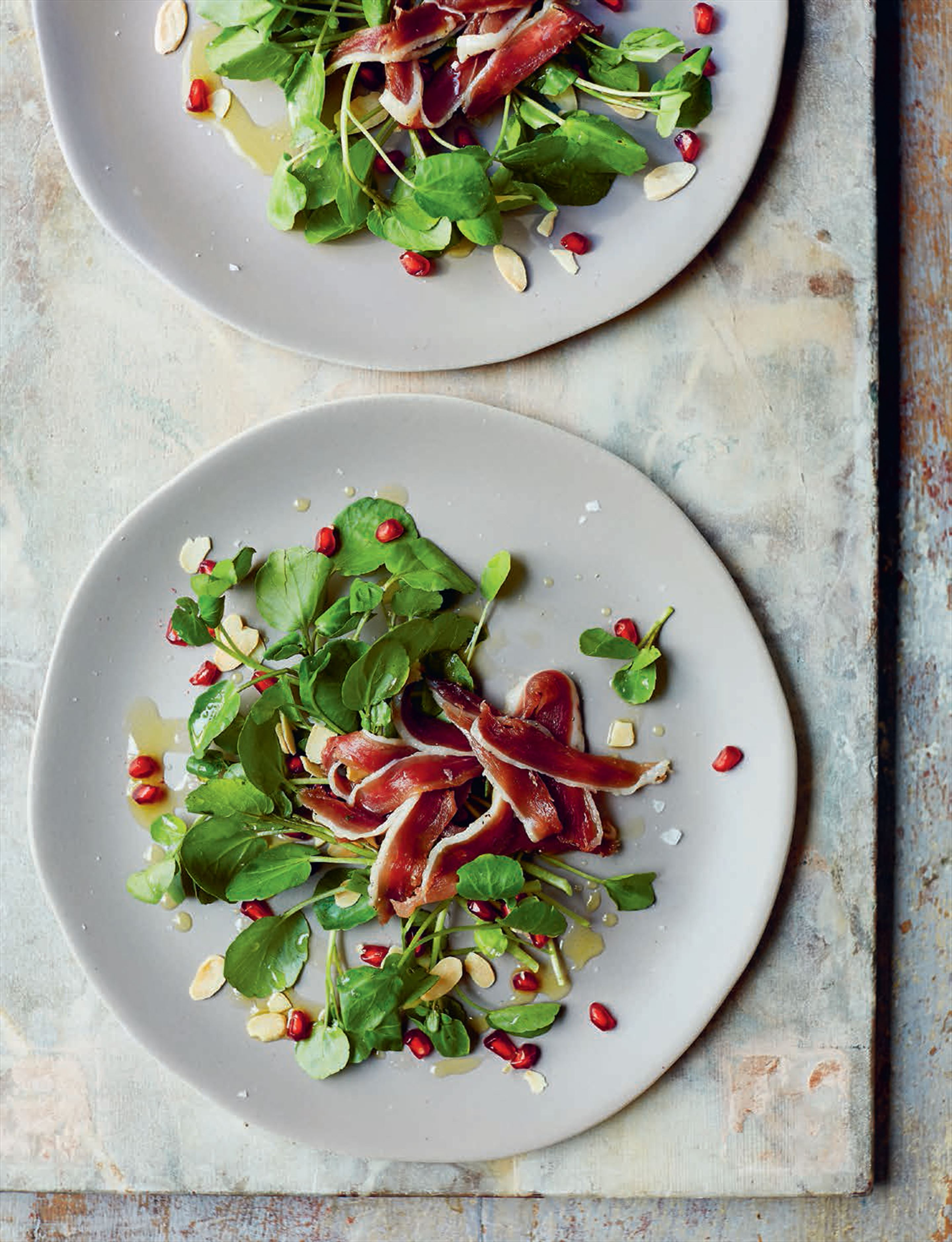 Home-cured duck ham with pomegranate salad