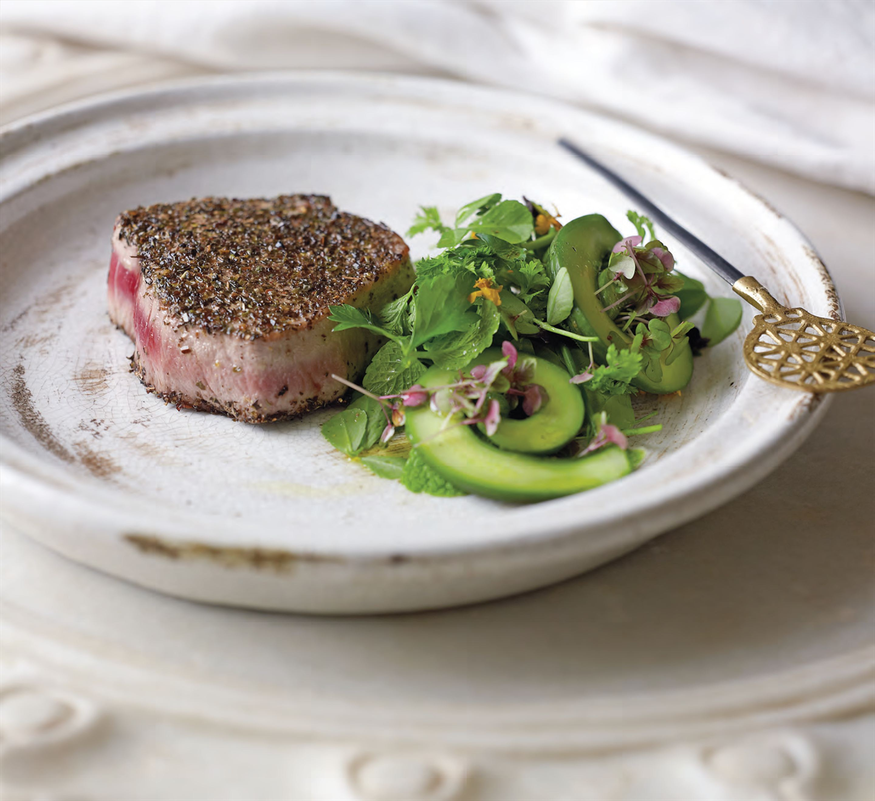Tuna steaks with dried mint, oregano and sumac
