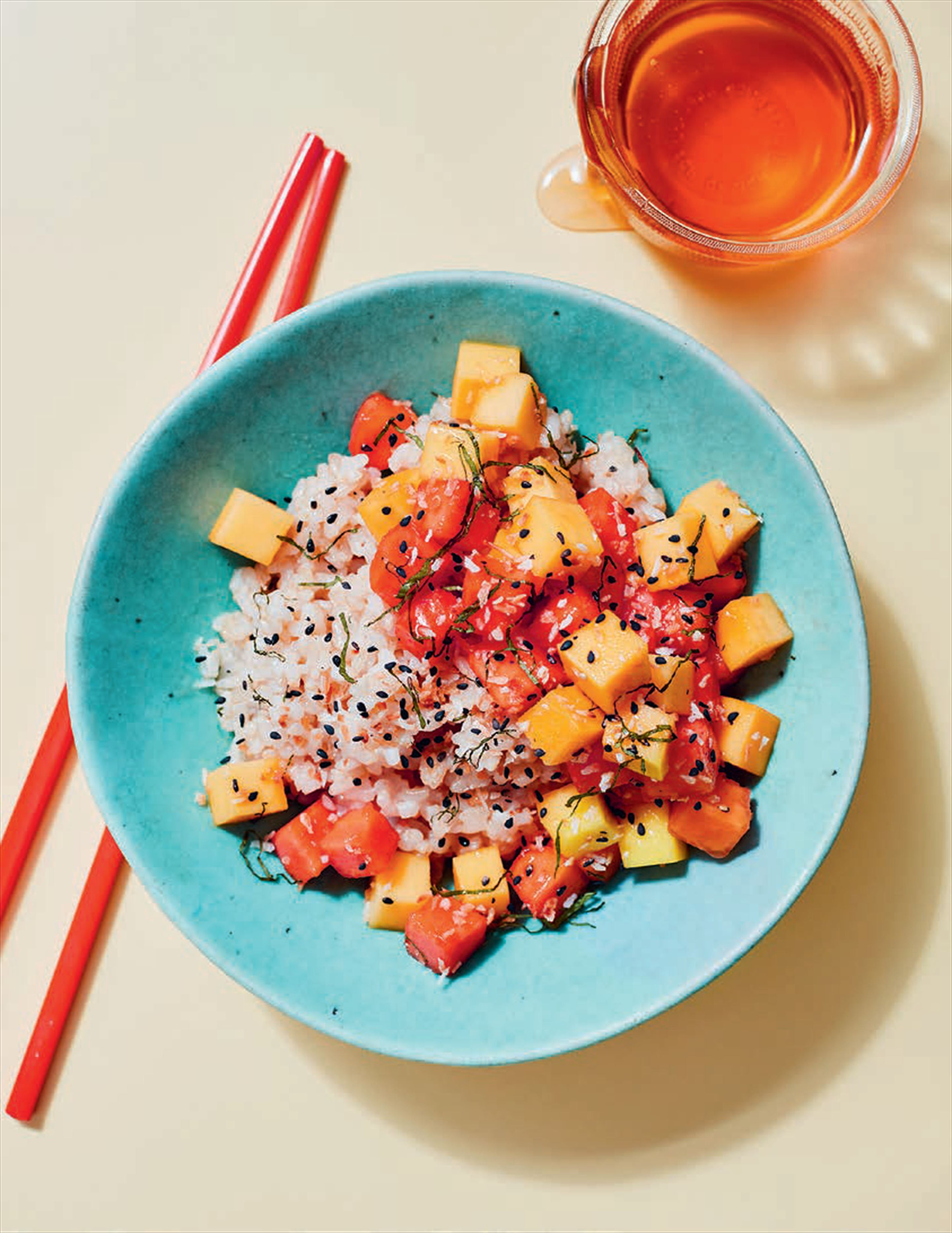 Mango + papaya poke with coconut Rice
