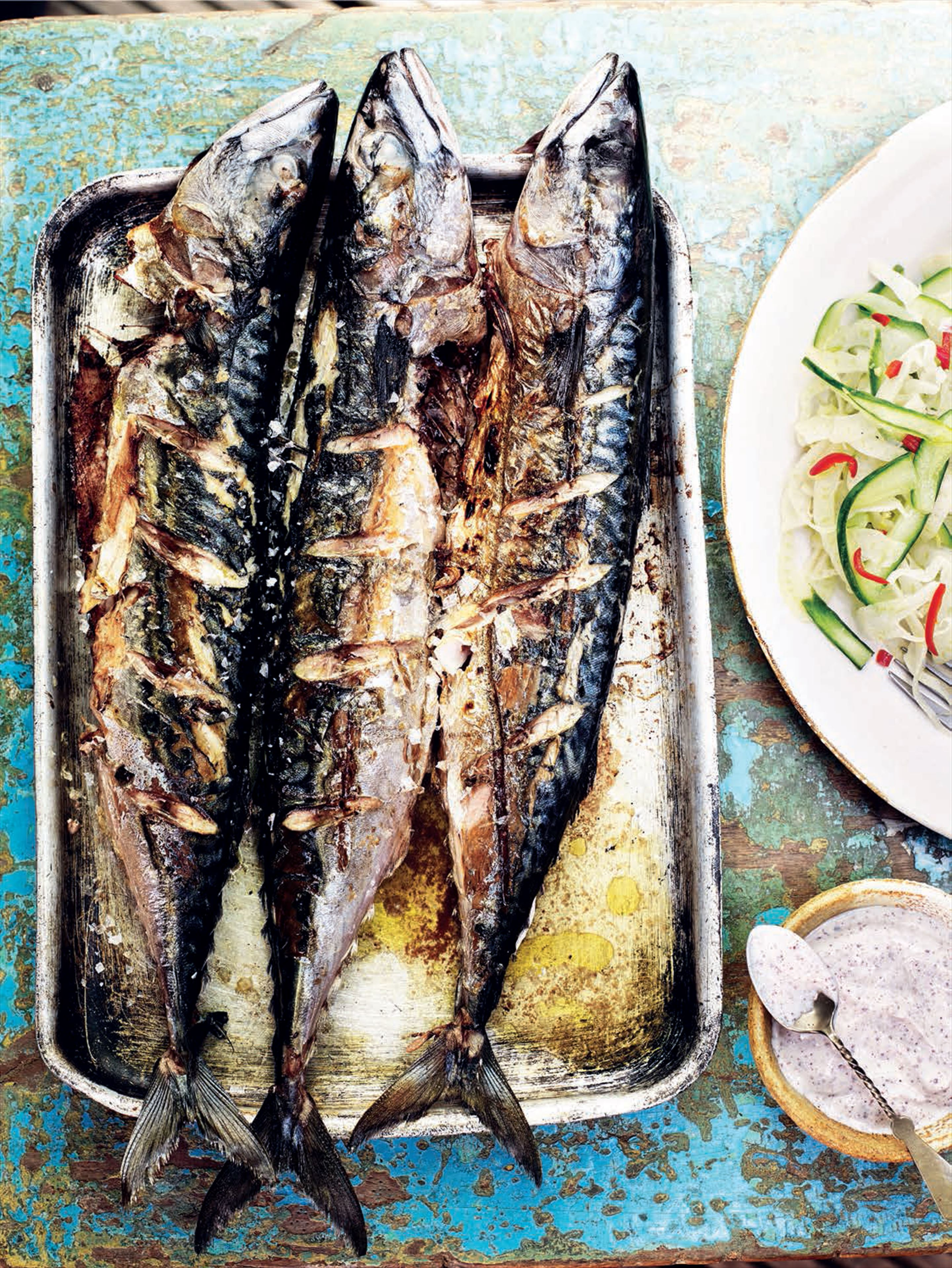 Grilled mackerel with fennel, yogurt and sumac salad