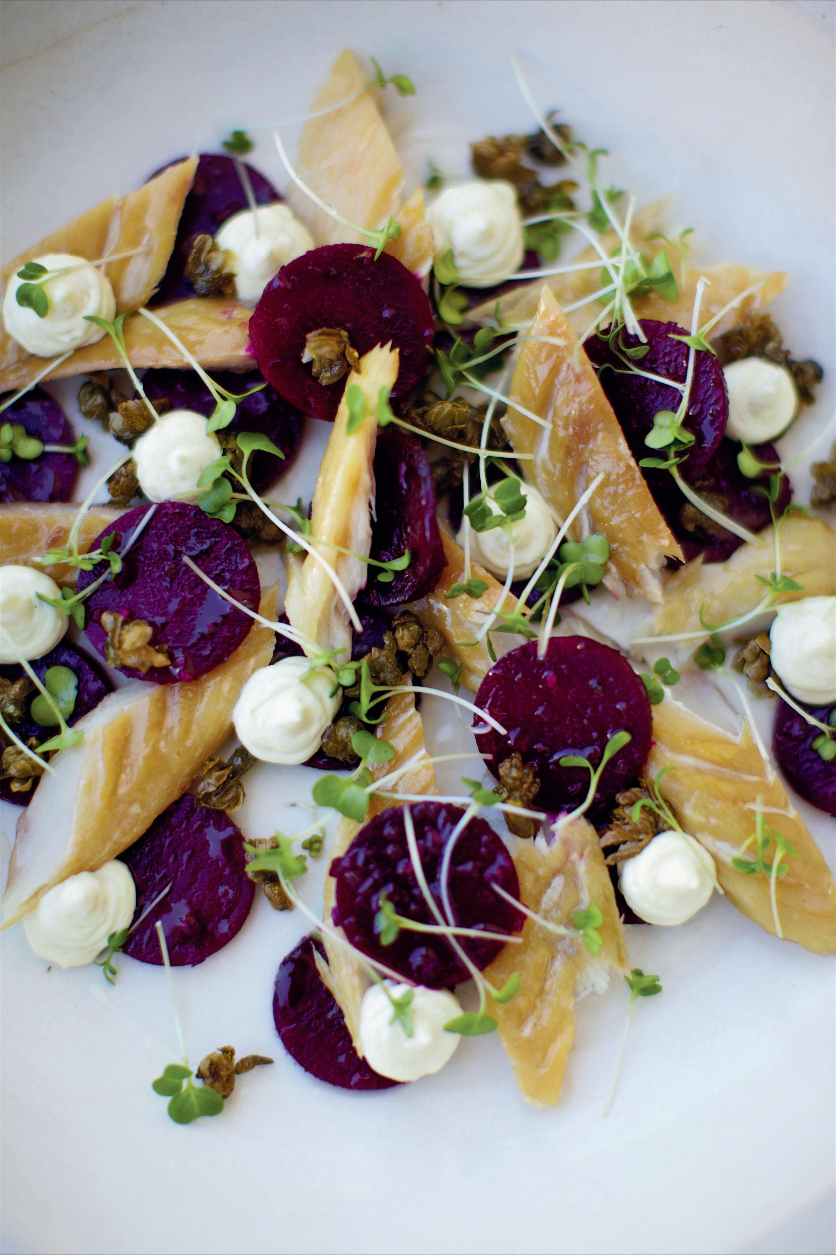 Smoked mackerel and beetroot salad with horseradish mayonnaise