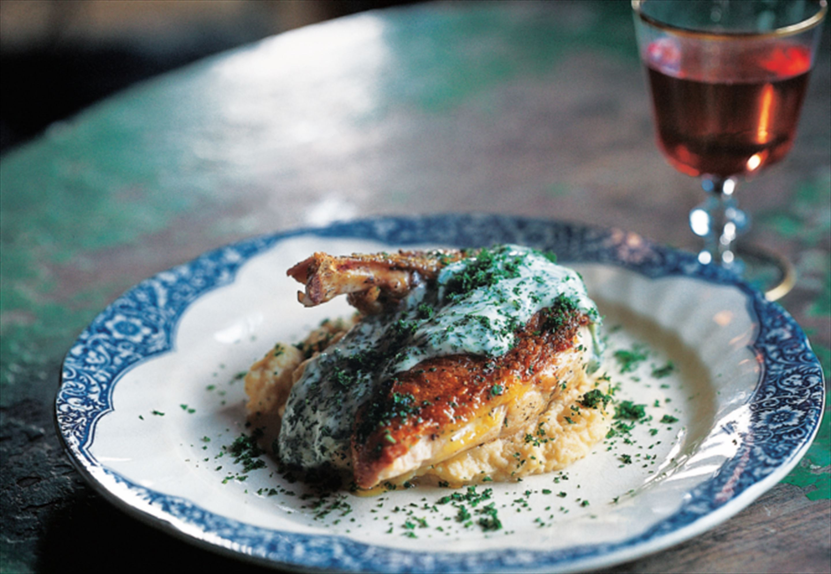 Pan-roasted guinea fowl with parsley sauce