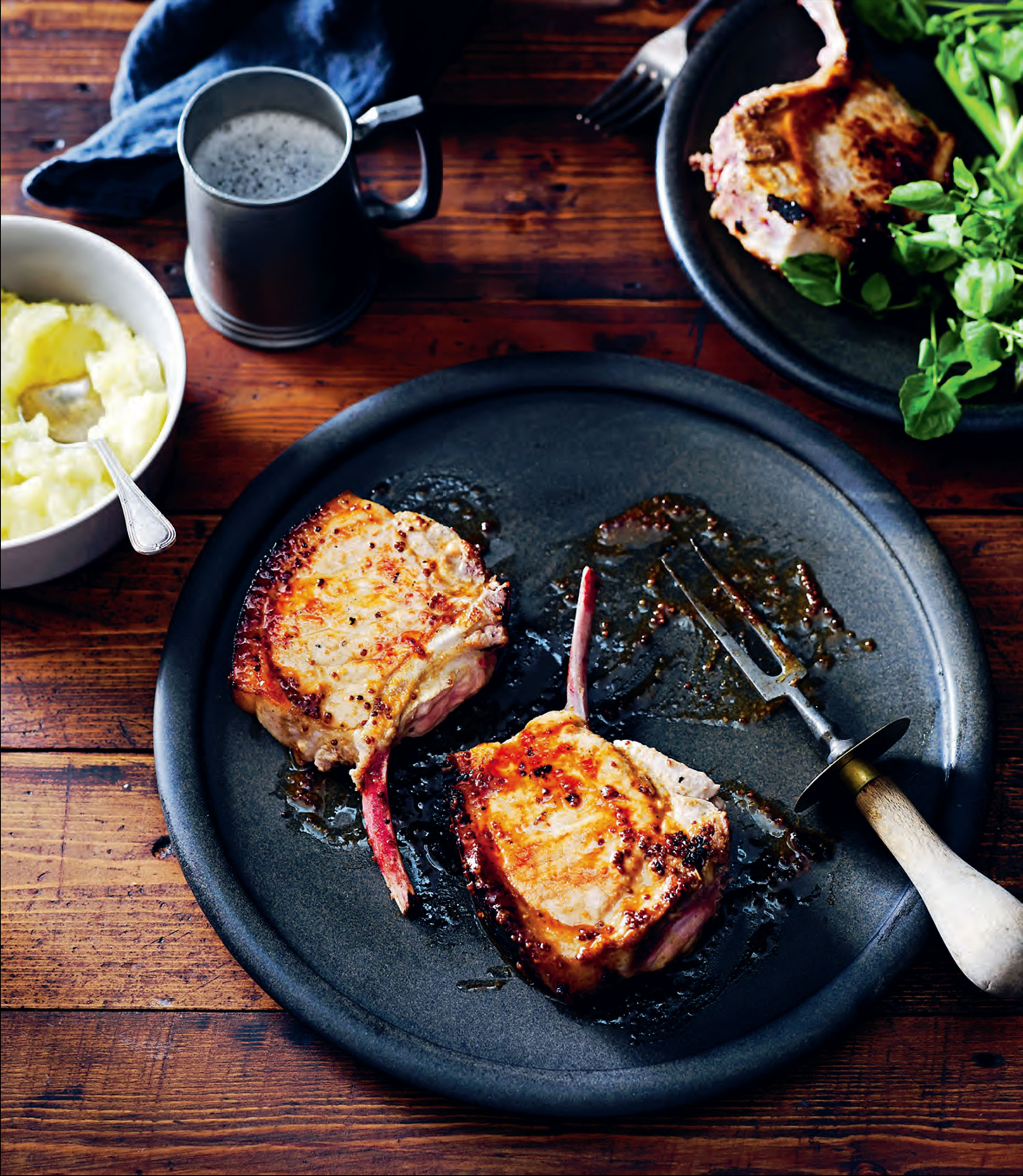 Maple and mustard-glazed pork cutlets with roasted apple sauce