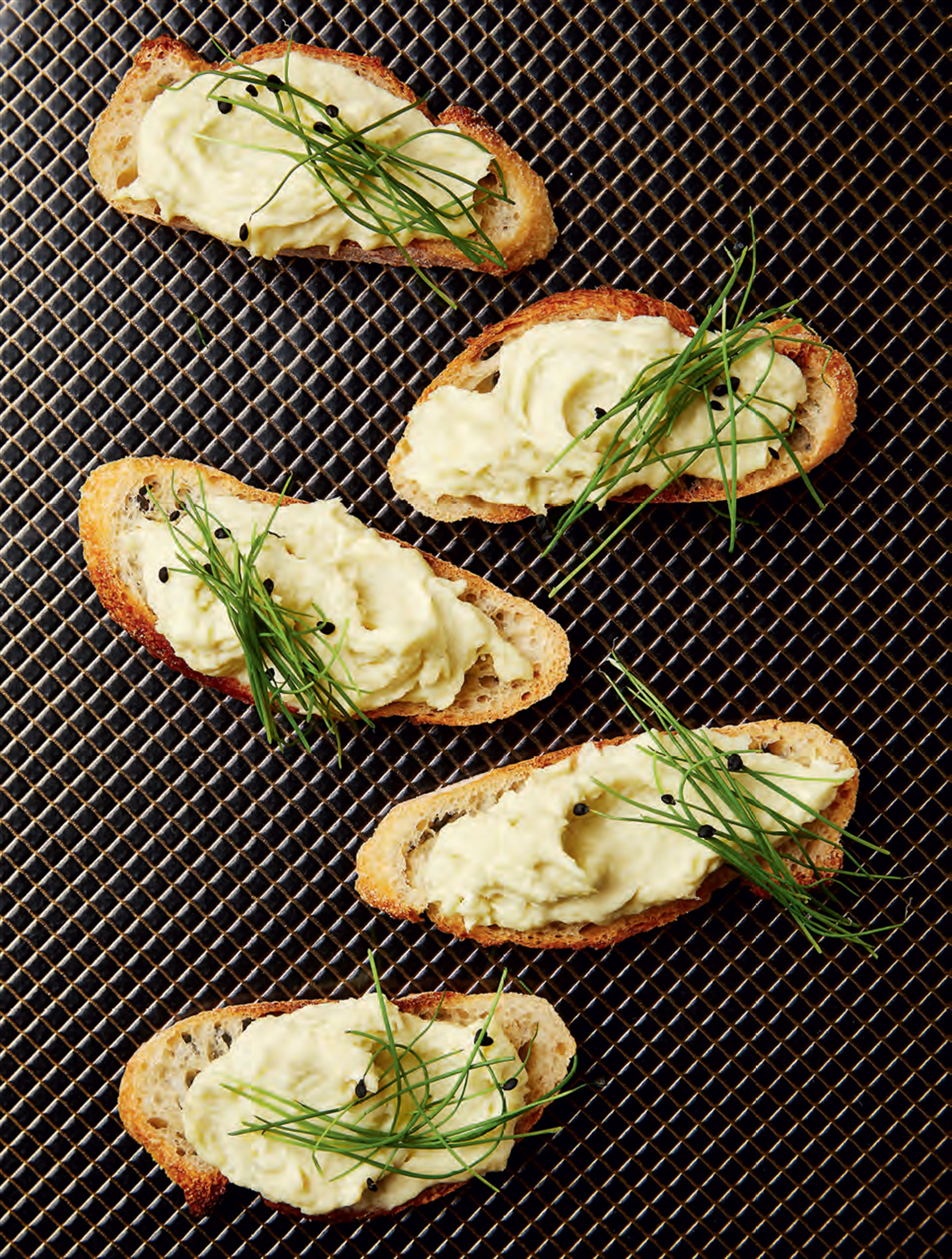 Whipped salt cod crostini
