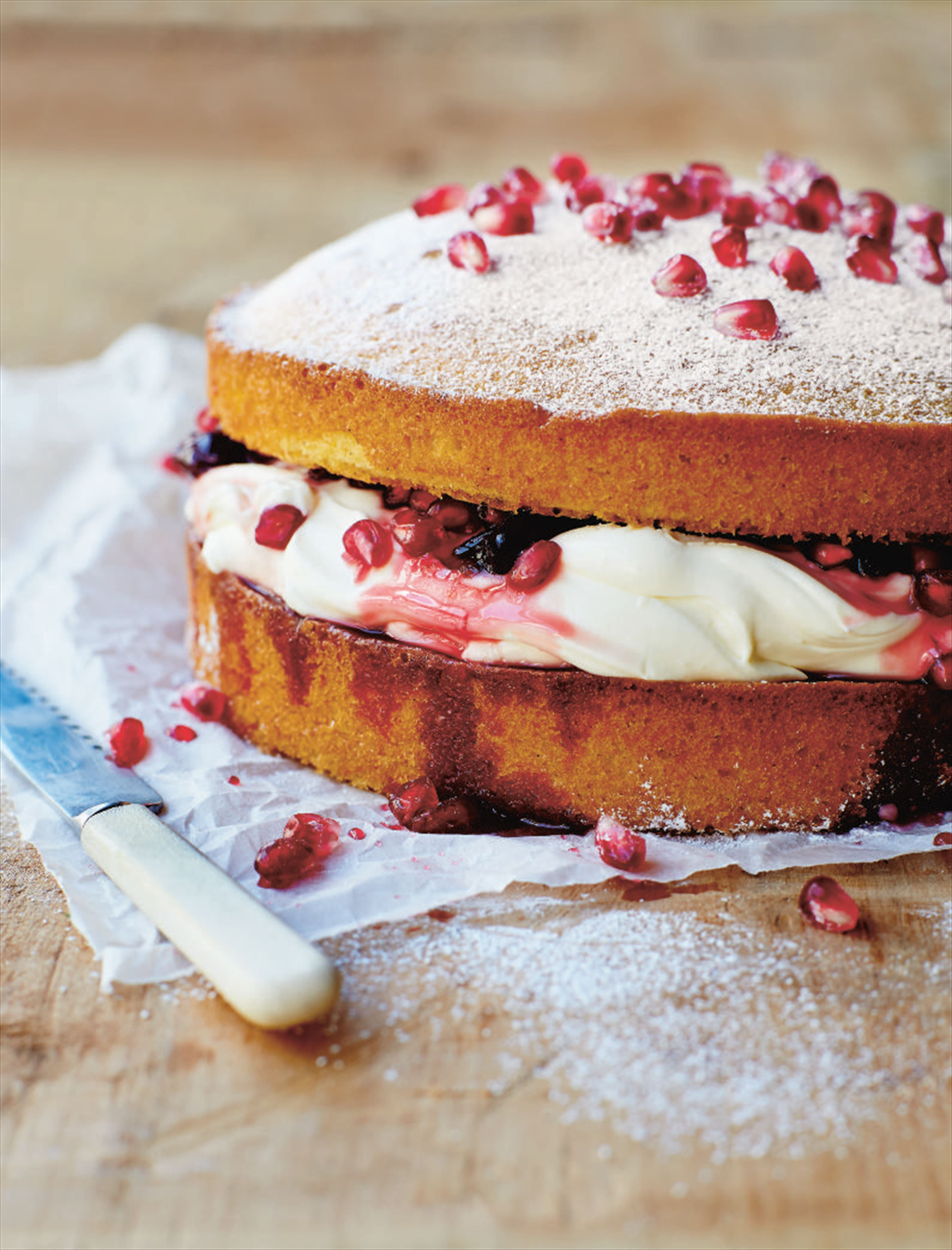 Pomegranate and sour cherry sponge cake