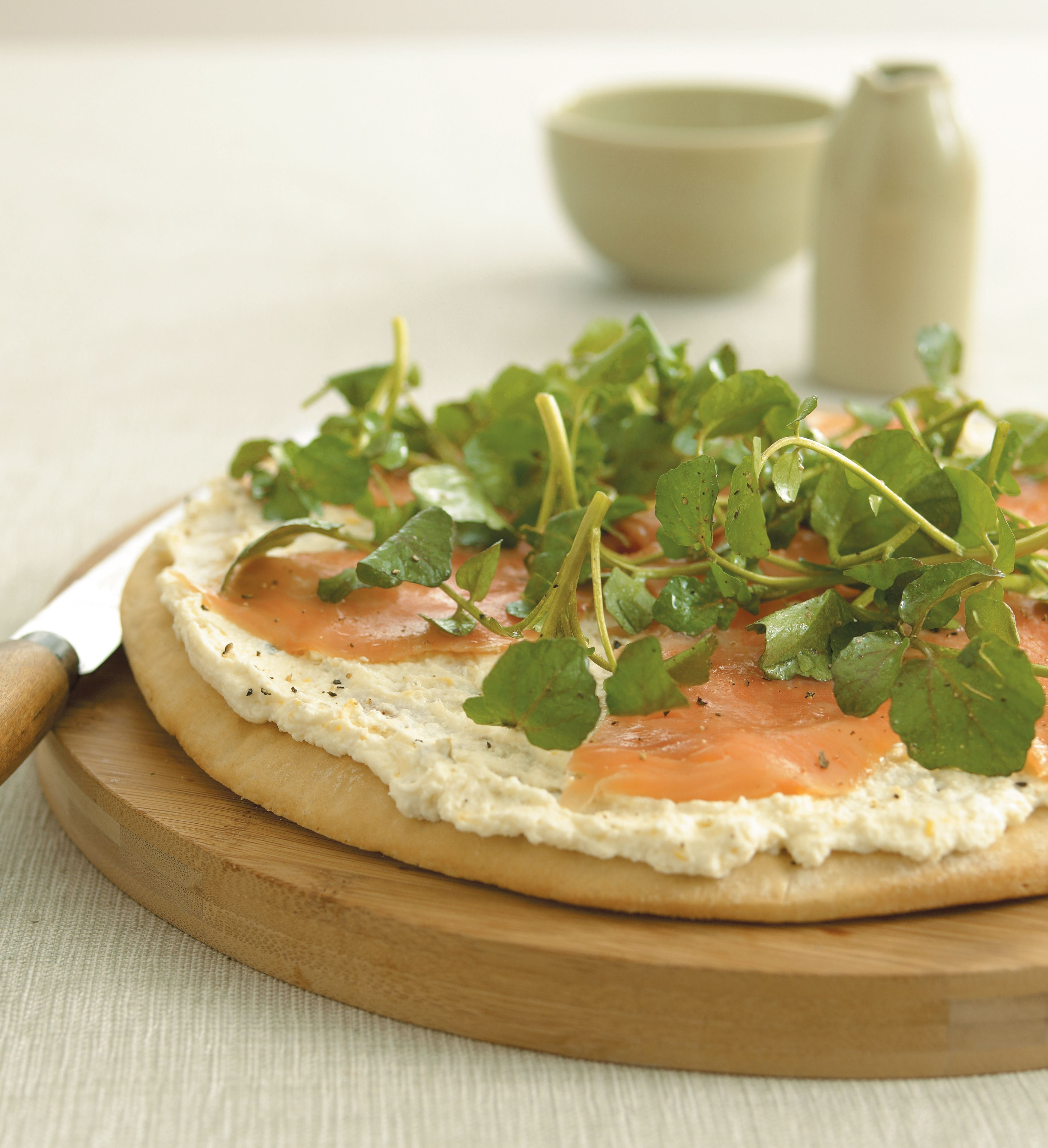 Smoked trout pizza