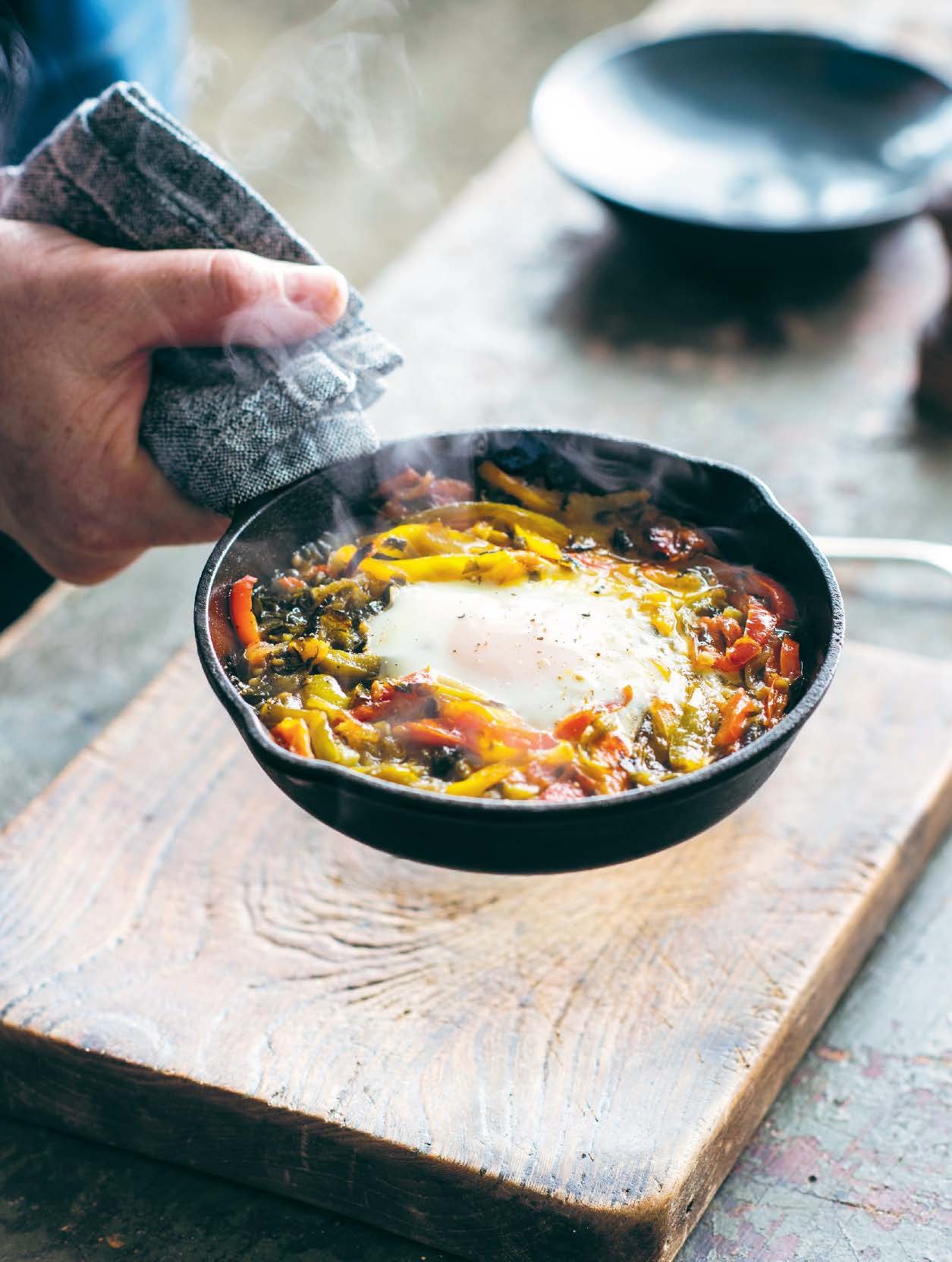 Baked eggs with piperade and sorrel