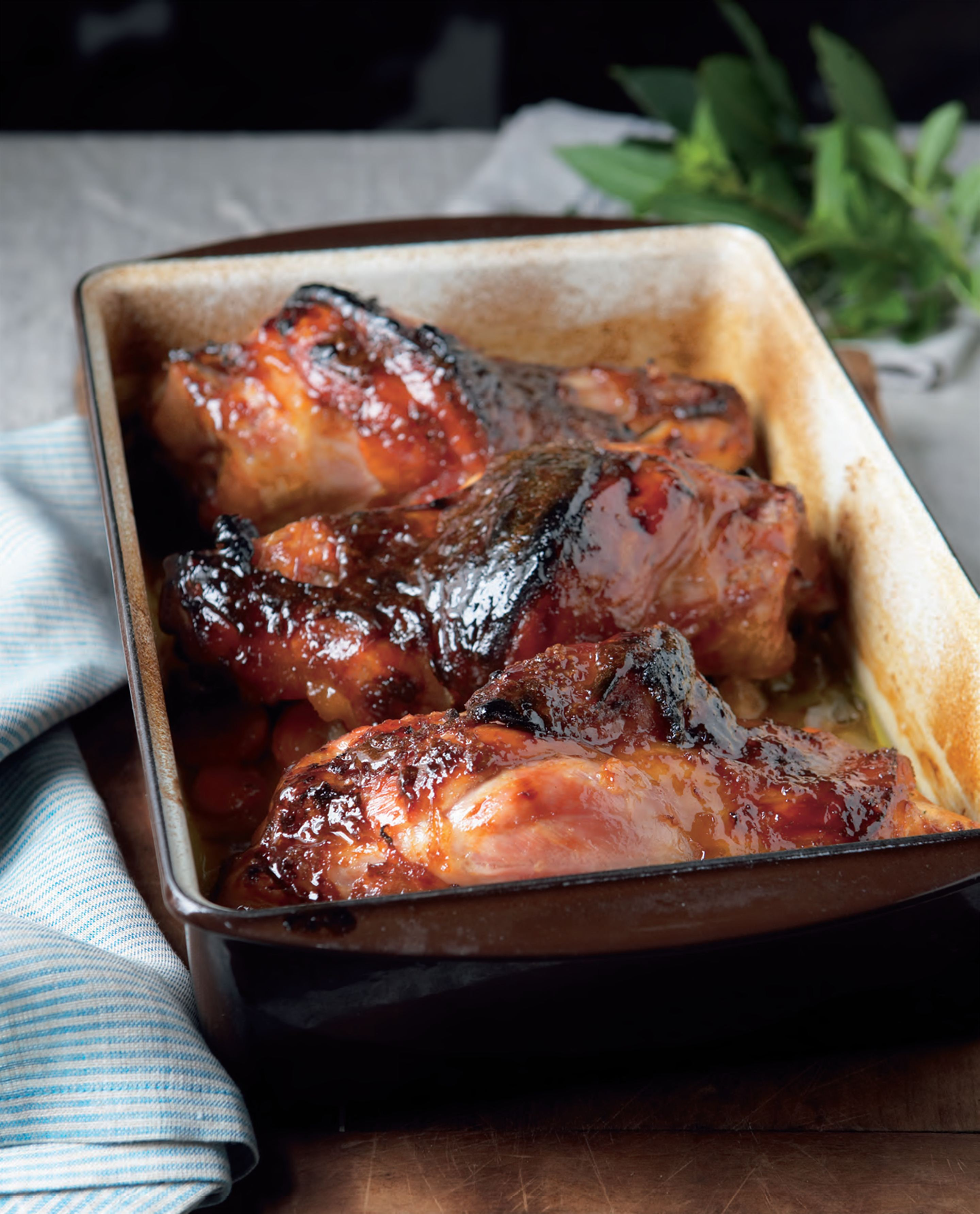 Glazed baked pork hocks