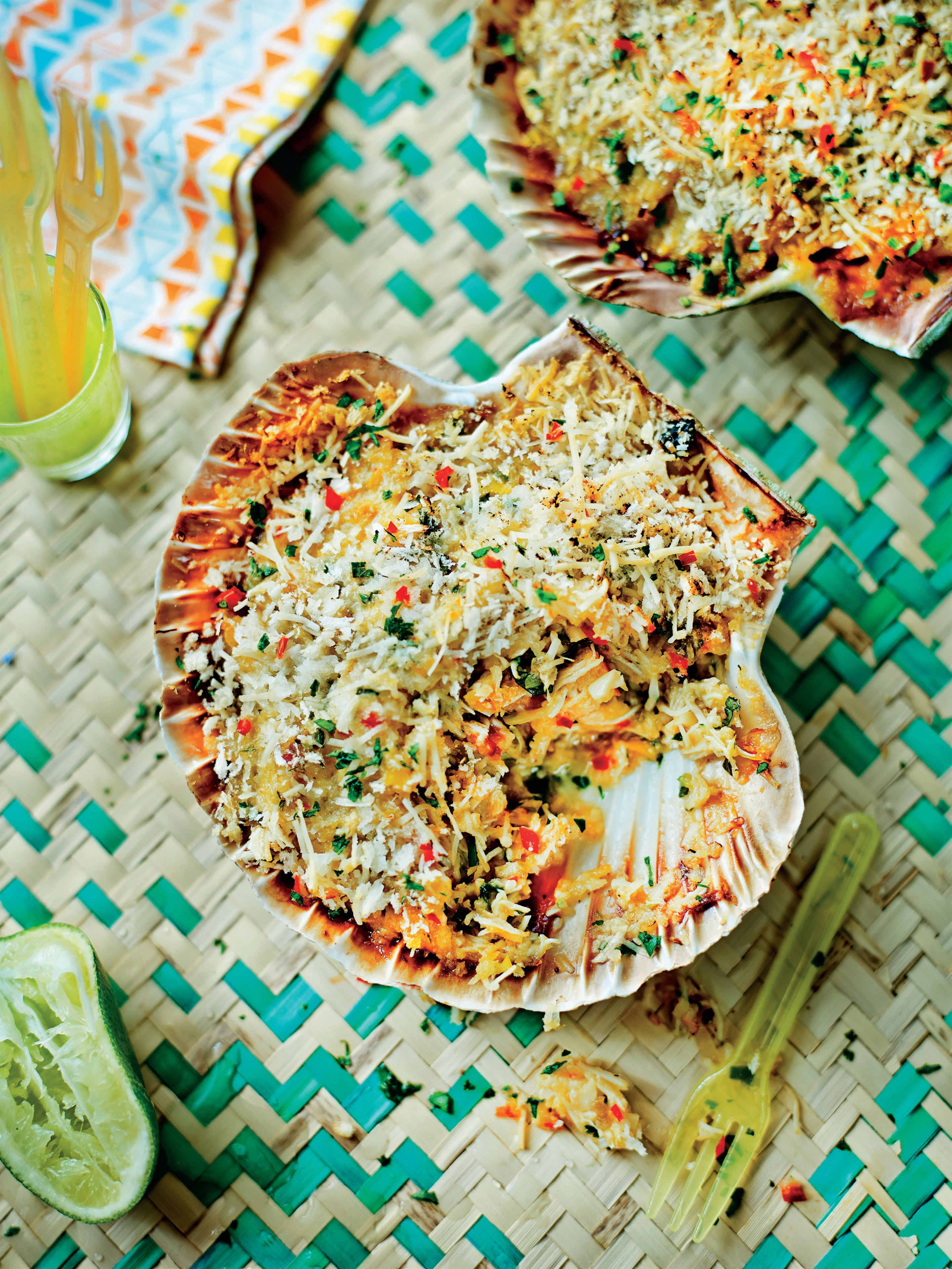 Grilled crab shells