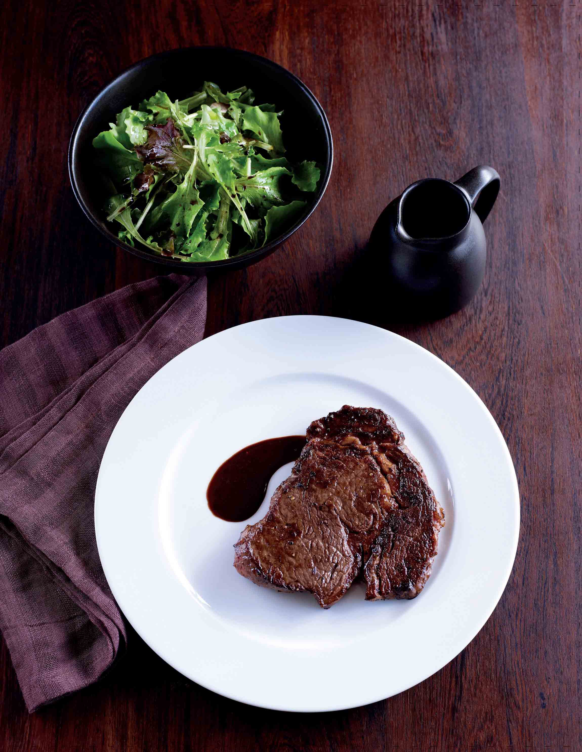 Steak with a red wine sauce