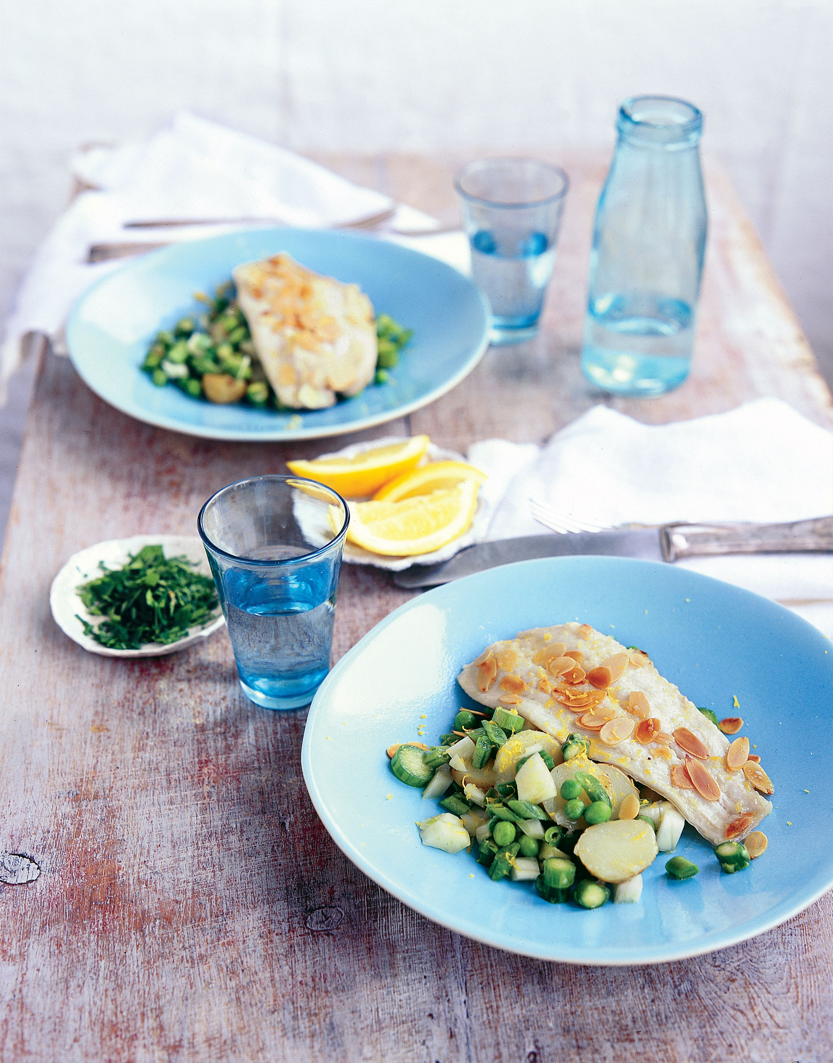 Grilled sole with lemon, almonds and parsley