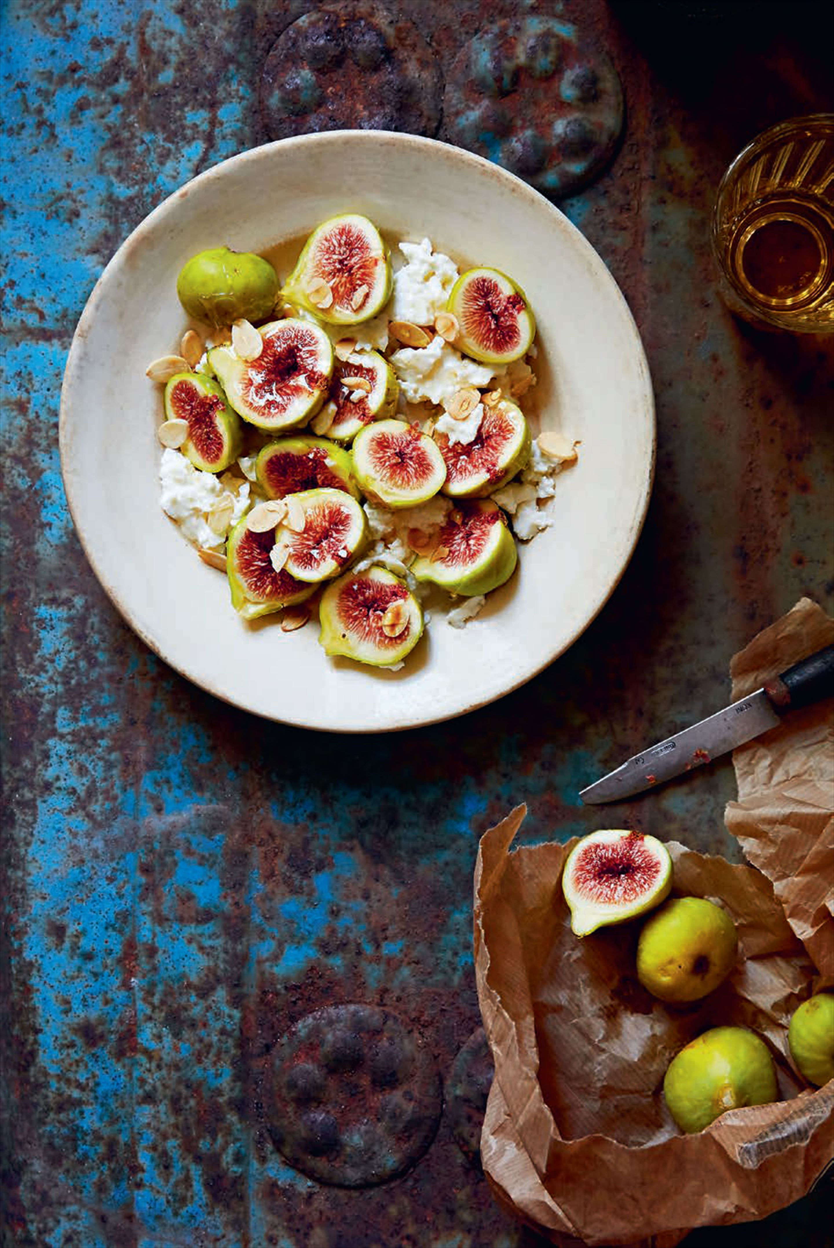 Fresh cheese with figs