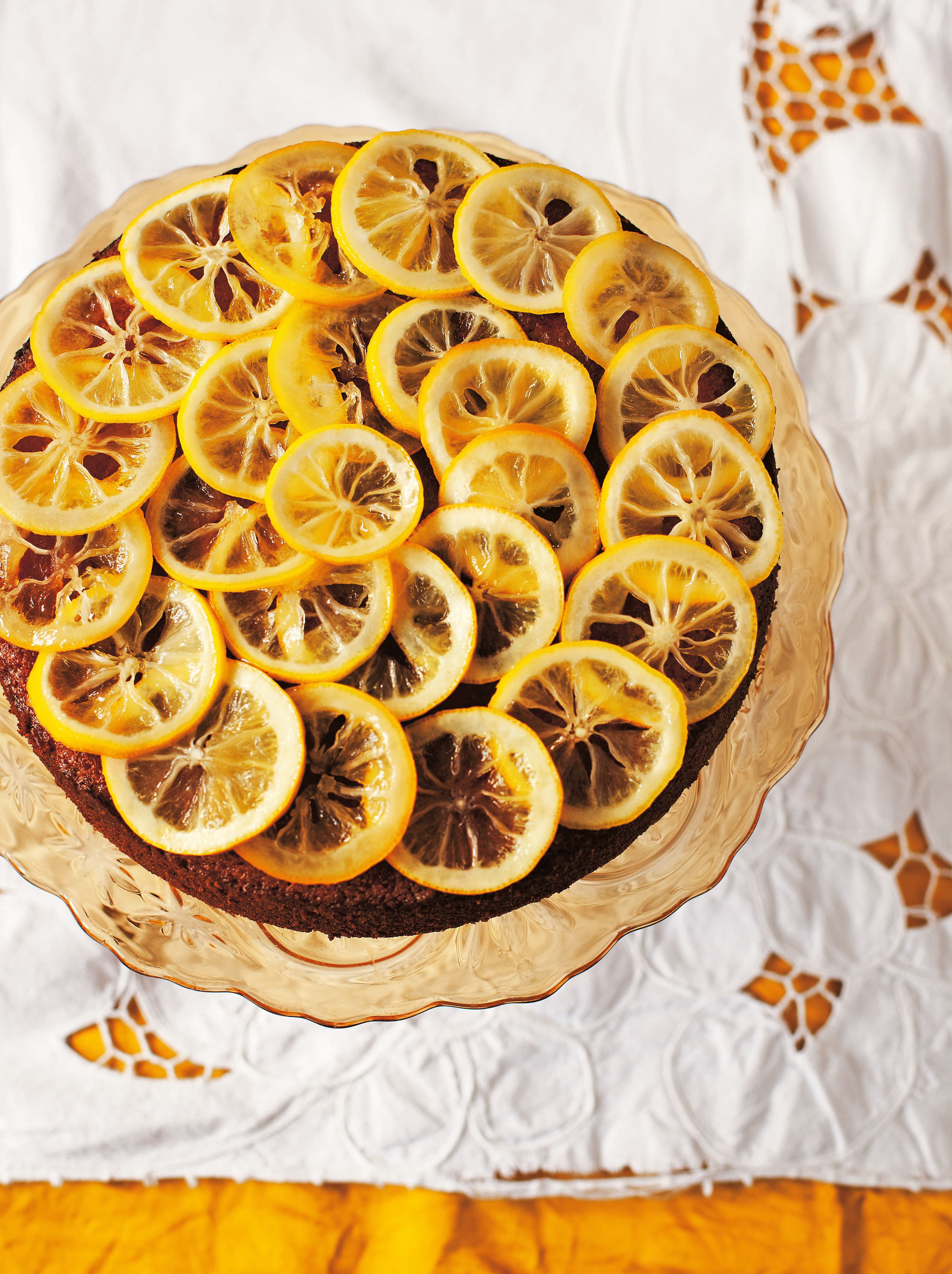 Flourless lemon polenta cake with limoncello syrup