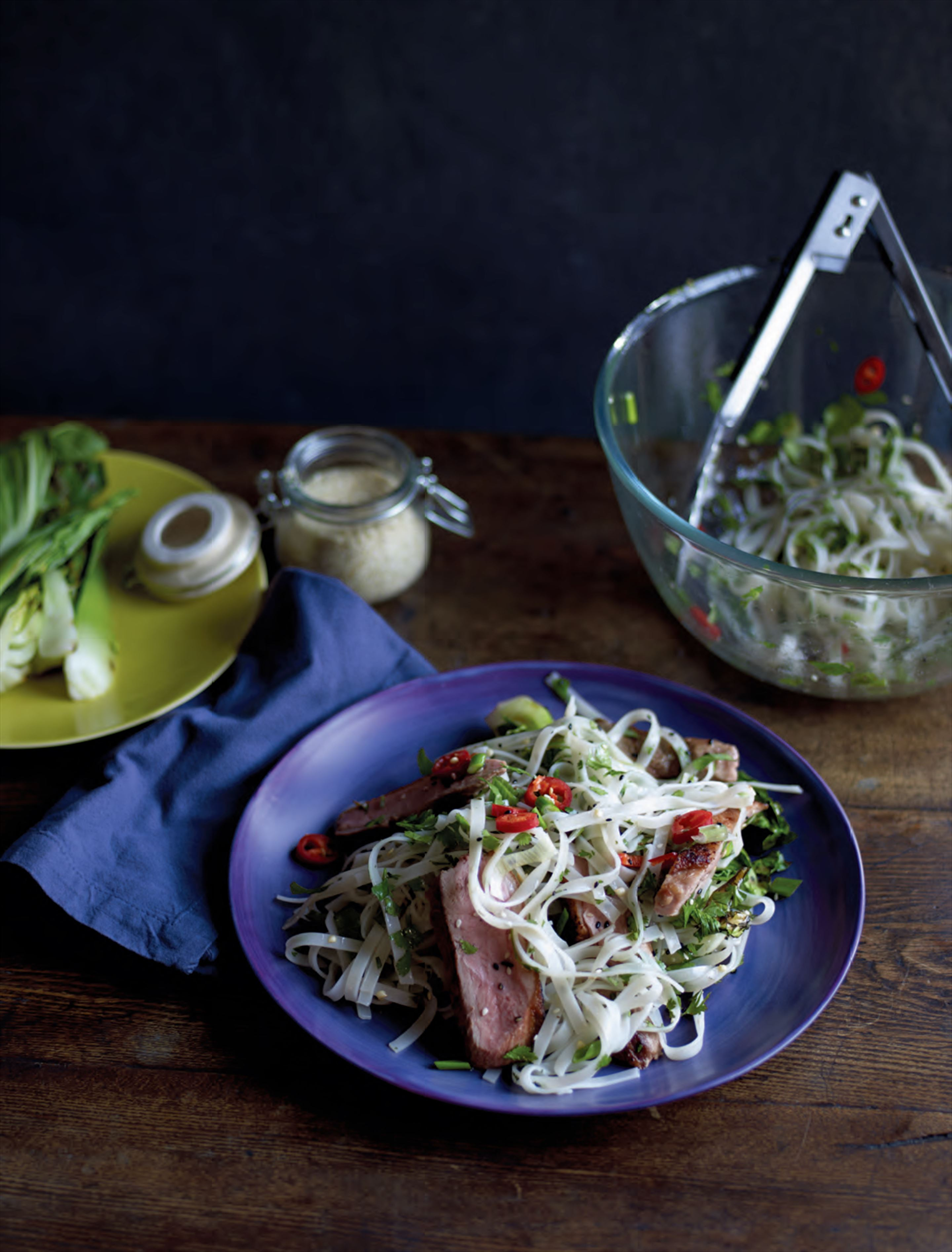 Sesame-roasted duck with pak choi & noodles