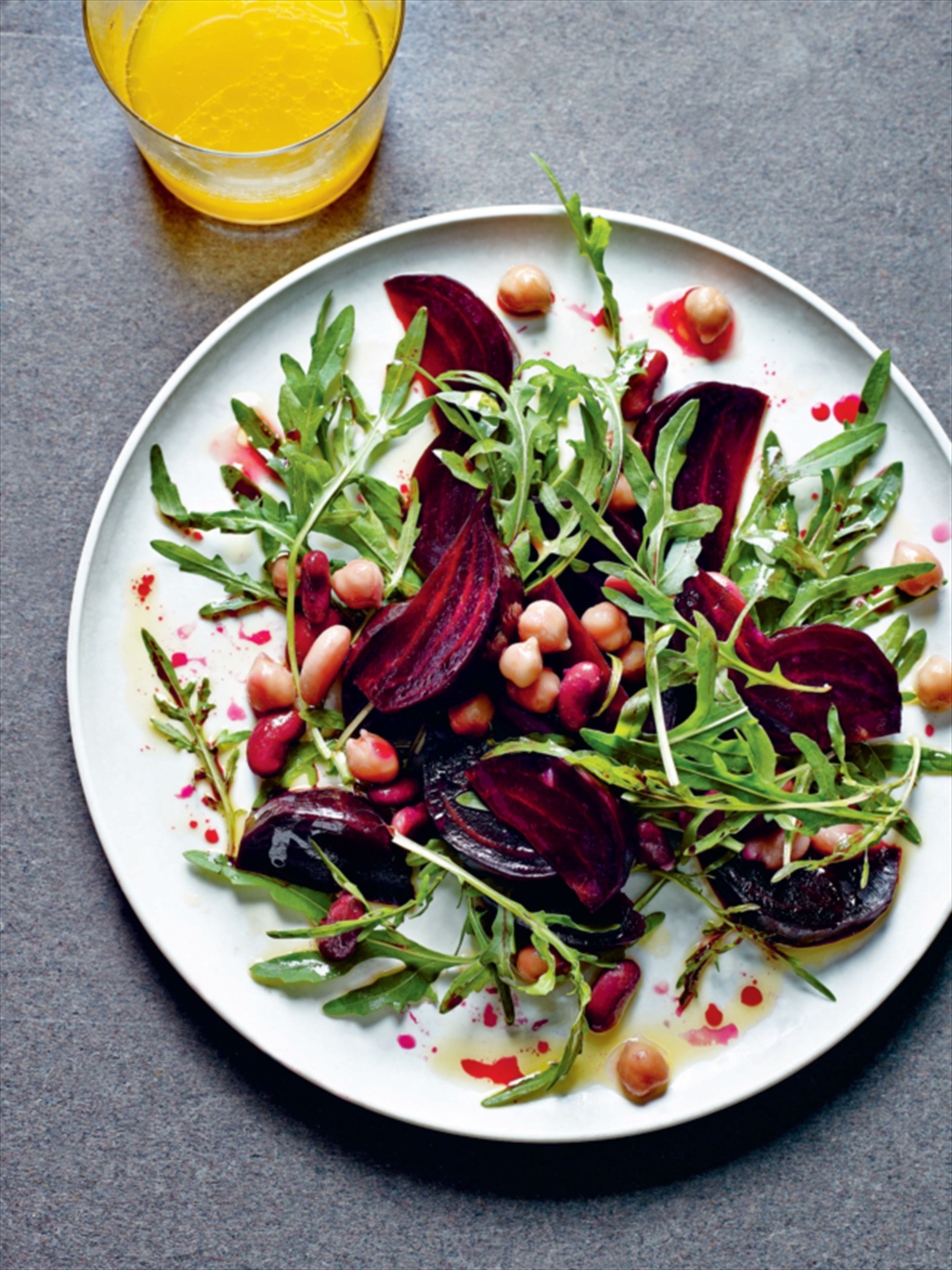 Beetroot, bean and rocket salad with orange dressing