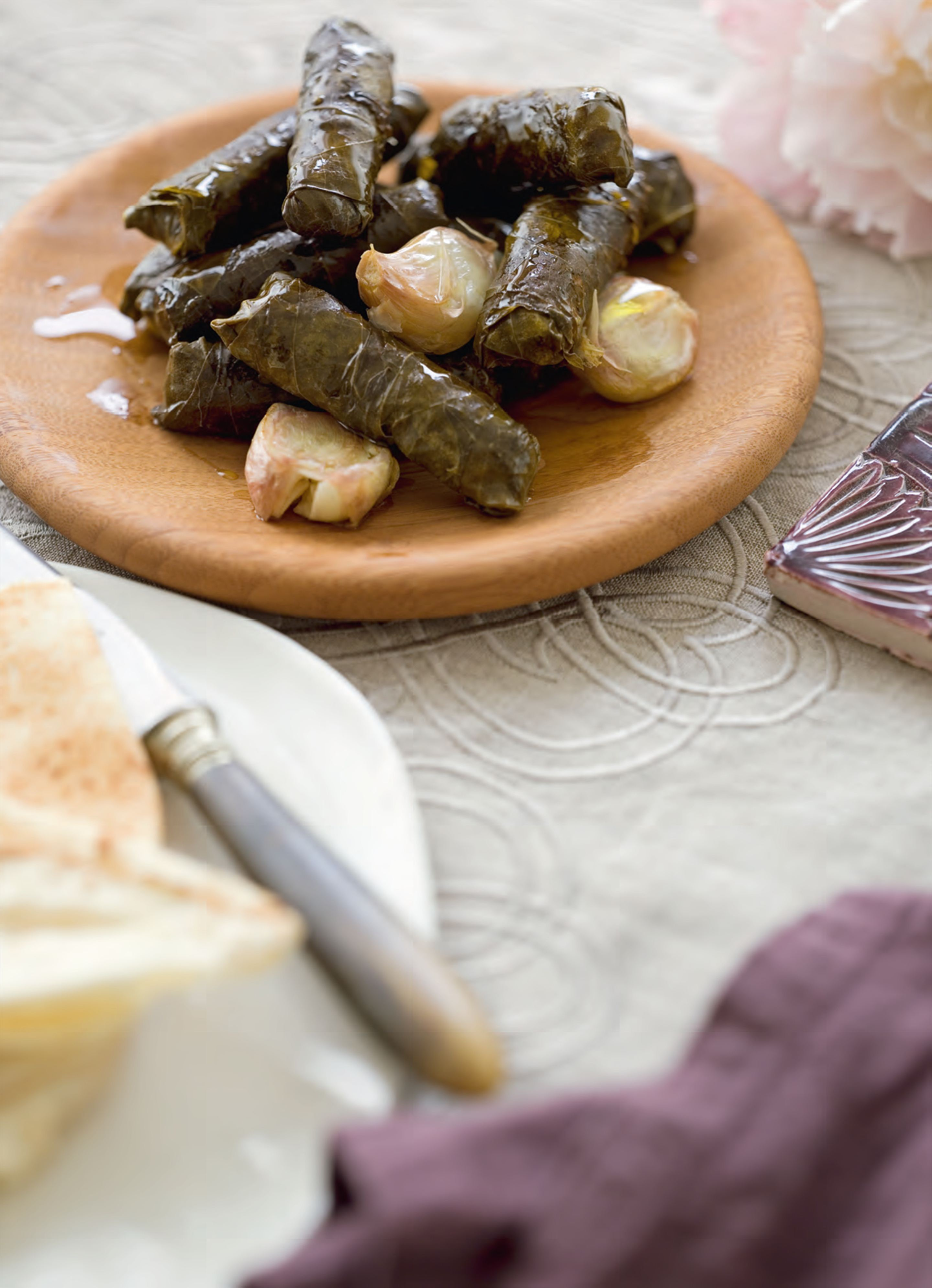 May's stuffed vine leaves with mint labne